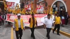 Seguidores de Gregorio Santos se movilizaron por la ciudad de Huamanga