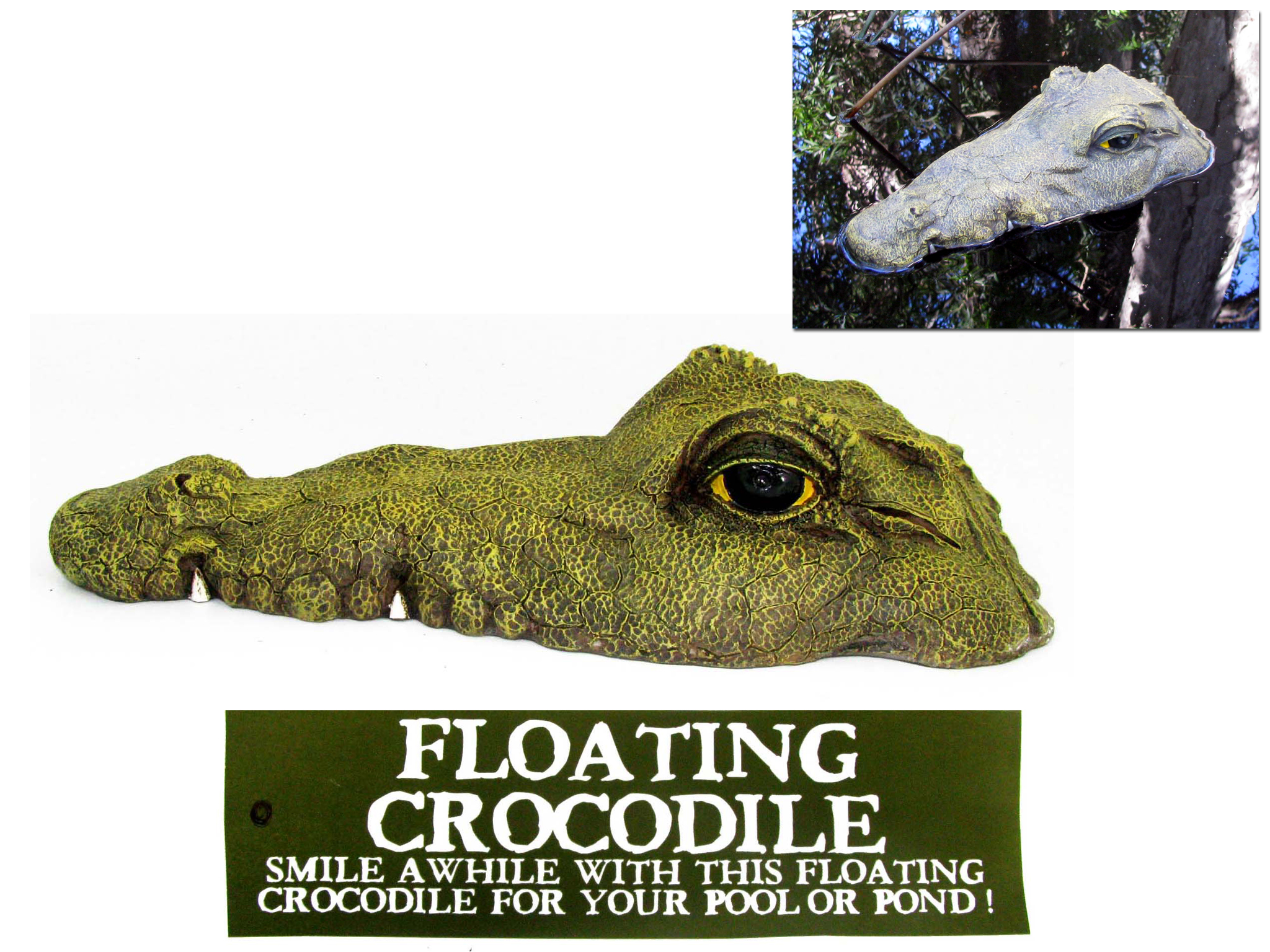 1pce Floating Crocodile Head Realistic Great For Keeping Ducks And Birds Away Ebay