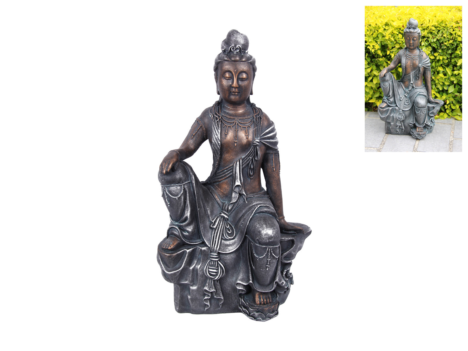 47cm guan yin buddha resting statue rustic meditating zen ebay. Black Bedroom Furniture Sets. Home Design Ideas