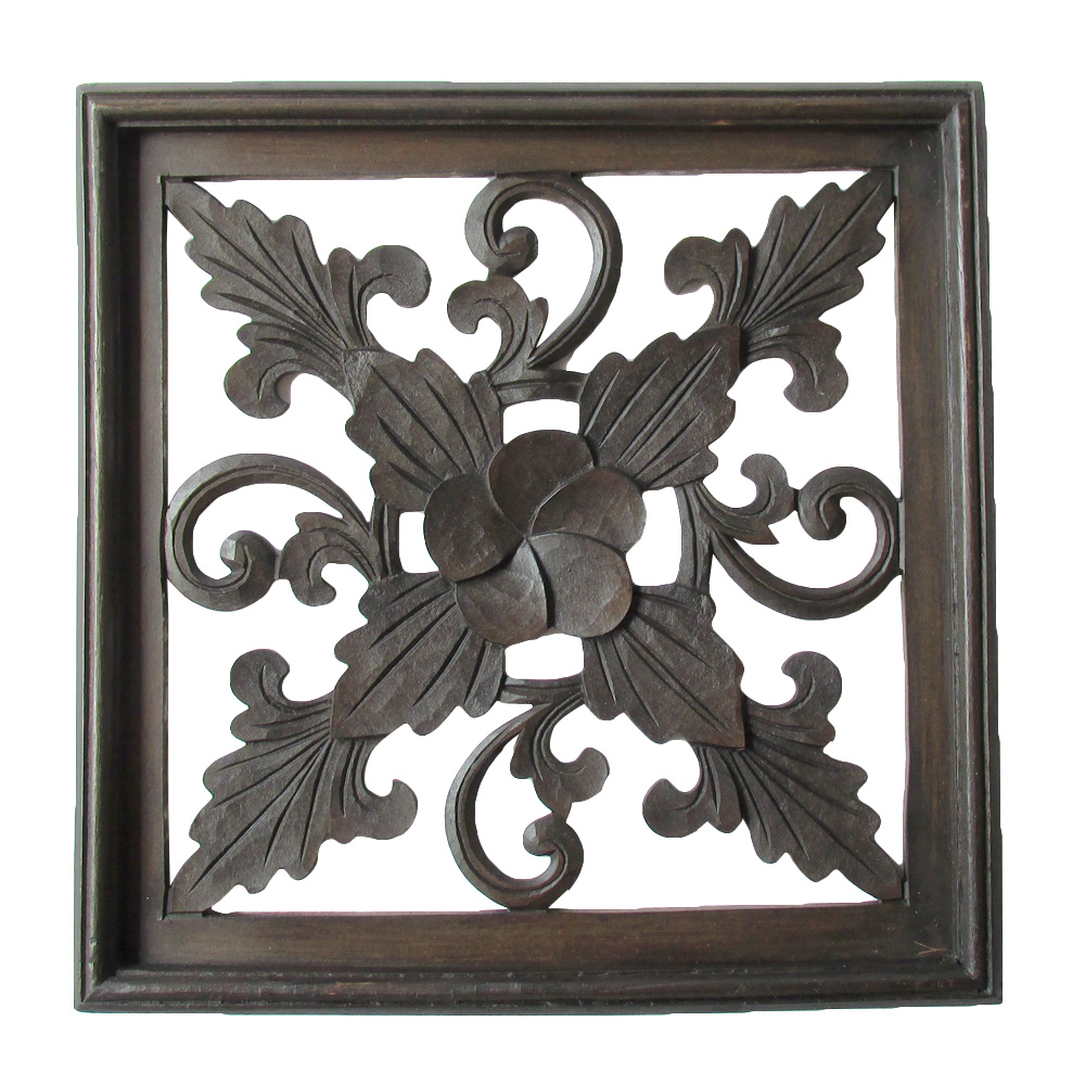 Vine And Frangipani Flower 27cm Hand Carved Wooden Screen