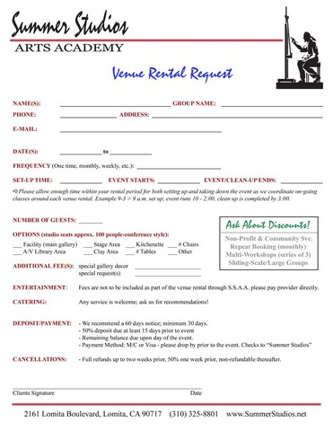 Venue Rental Request Form