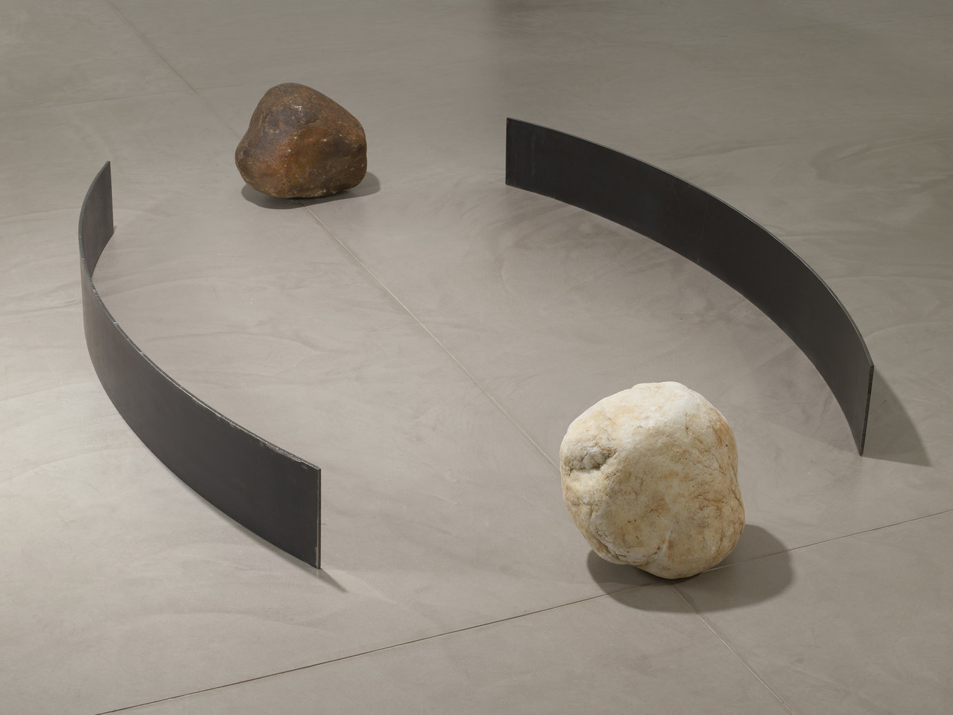 ", 2008. Steel, stone, 10"" x 87"" x 10-1/2"" (25.4 cm x 221 cm x 26.7 cm), 2 steel plates, each&#x000A;15"" x 18"" x 16"" (38.1 cm x 45.7 cm x 40.6 cm), dark stone&#x000A;15"" x 15"" x 12"" (38.1 cm x 38.1 cm x 30.5 cm), light stone."