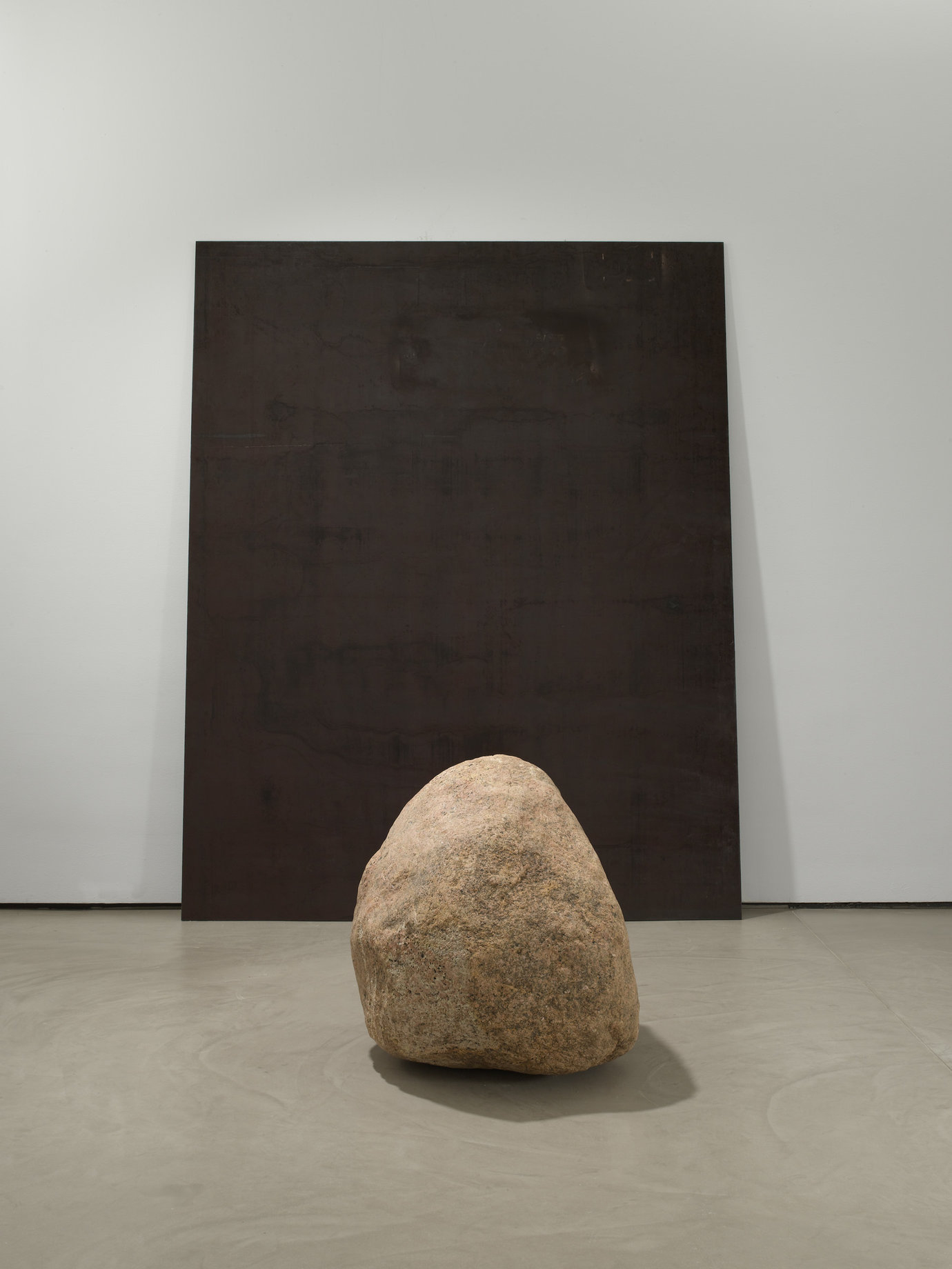 ", 2008. Steel, stone, 9&apos; 2"" x 7&apos; 5"" x 3/8"" (279.4 cm x 226.1 cm x 1 cm), steel plate&#x000A;32"" x 34"" x 36"" (81.3 cm x 86.4 cm x 91.4 cm), stone."