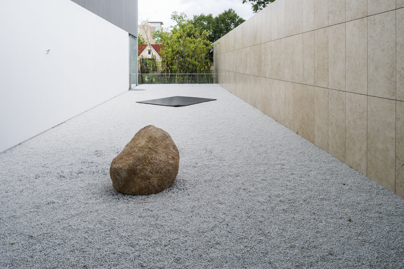 ", 2011. steel plate and stone, overall installation dimensions variable1-1/4"" x 118-1/8"" x 94-1/2"" (3.2 cm x 300 cm x 240 cm), steel plate28"" x 49"" x 49"" (71.1 cm x 124.5 cm x 124.5 cm), stone."