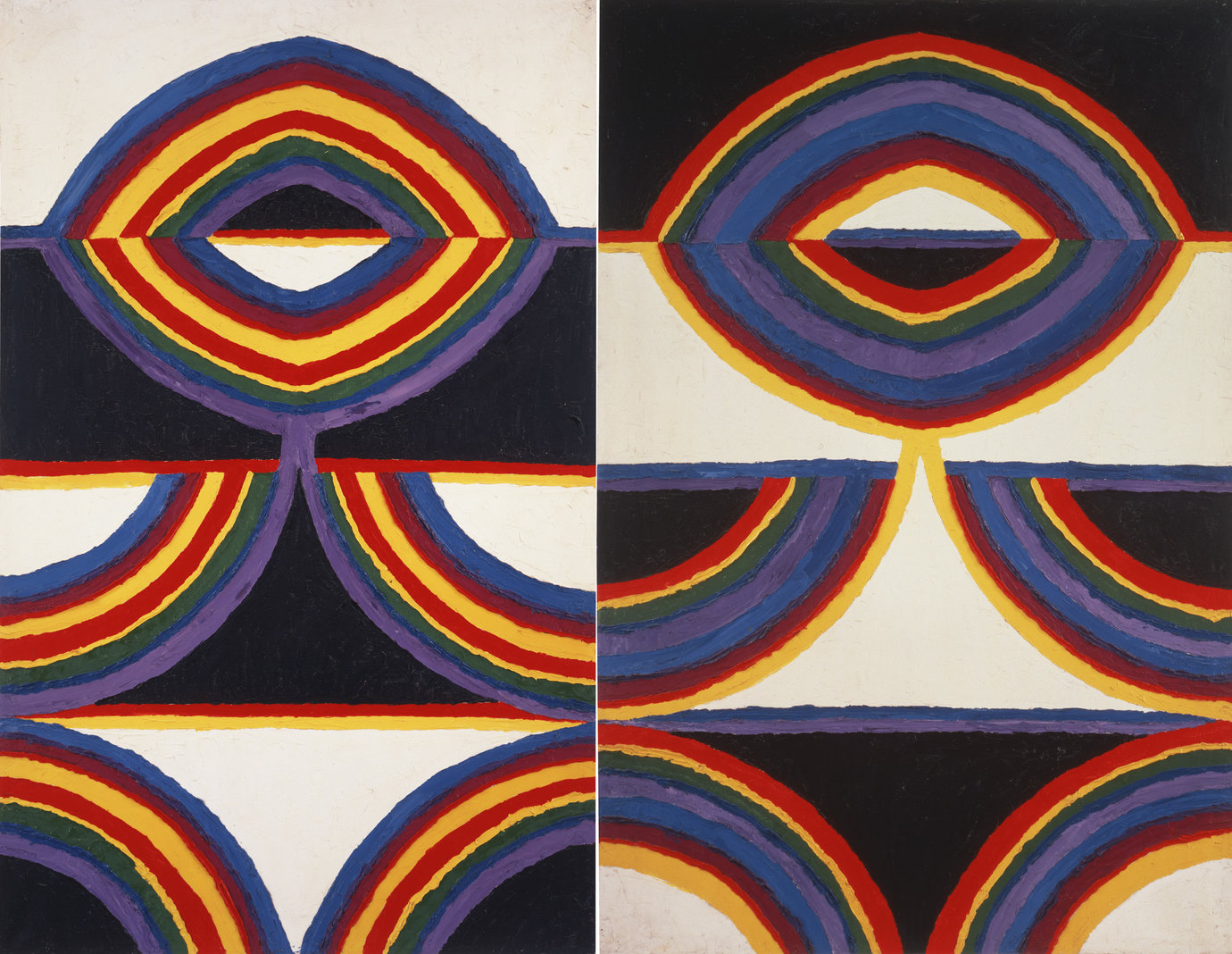 ", 1959. Oil on canvas, 74"" x 94-7/8"" (188 cm x 241 cm), overall 74"" x 48-7/8"" (188 cm x 124.1 cm), left panel74"" x 46"" (188 cm x 116.8 cm), right panel."
