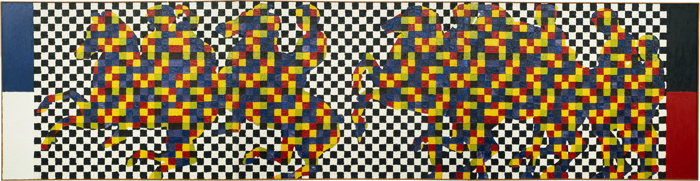 ", 1963. Oil on canvas, 50"" x 66"" (127 cm x 167.6 cm), 3 panels, each50"" x 198"" (127 cm x 502.9 cm), overall."