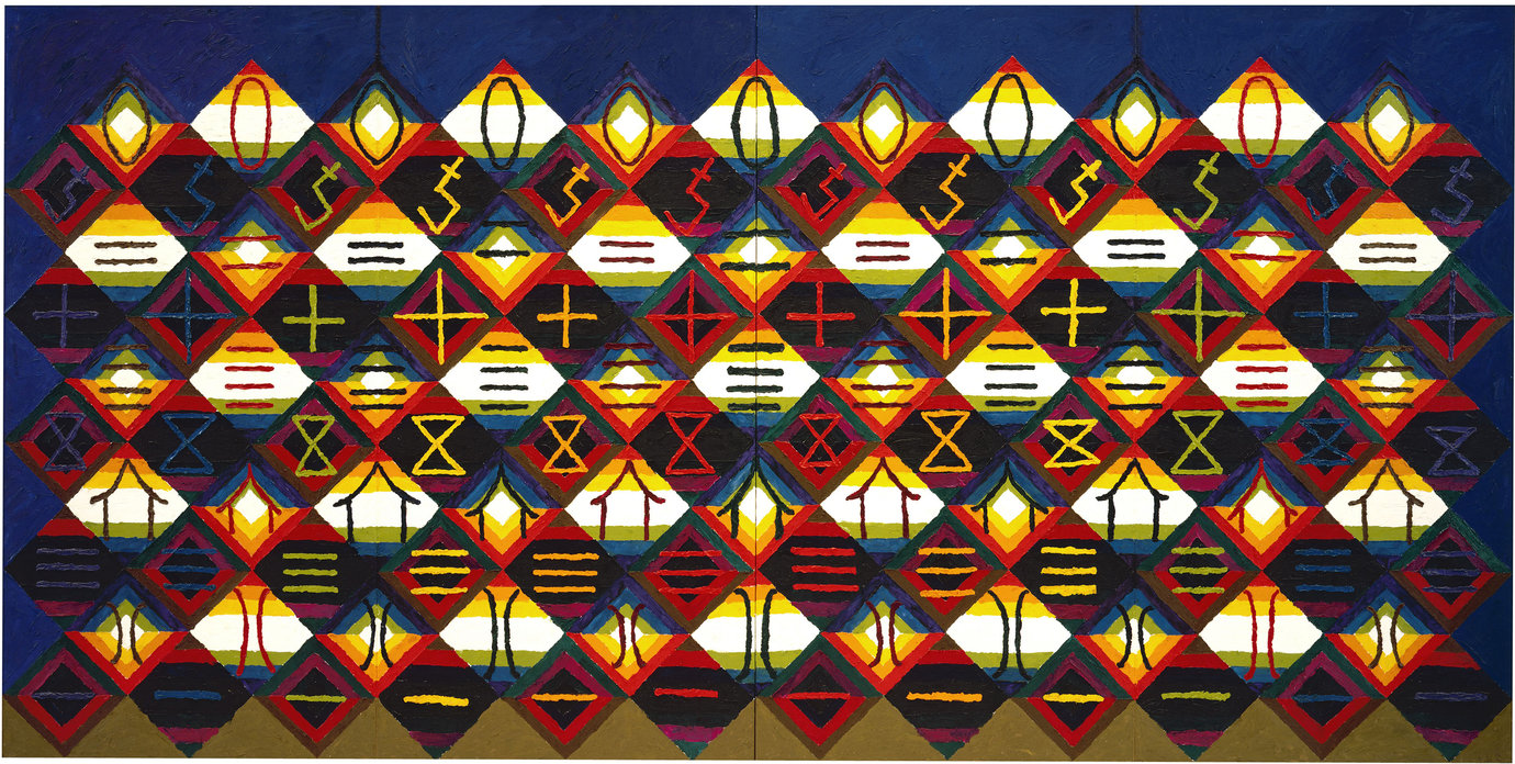 ", 1975. oil on canvas, four panels, overall: 6' 2"" x 12' 4"" (188 cm x 375.9 cm); each panel: 6' 2"" x 3' 1"" (188 cm x 94 cm)."