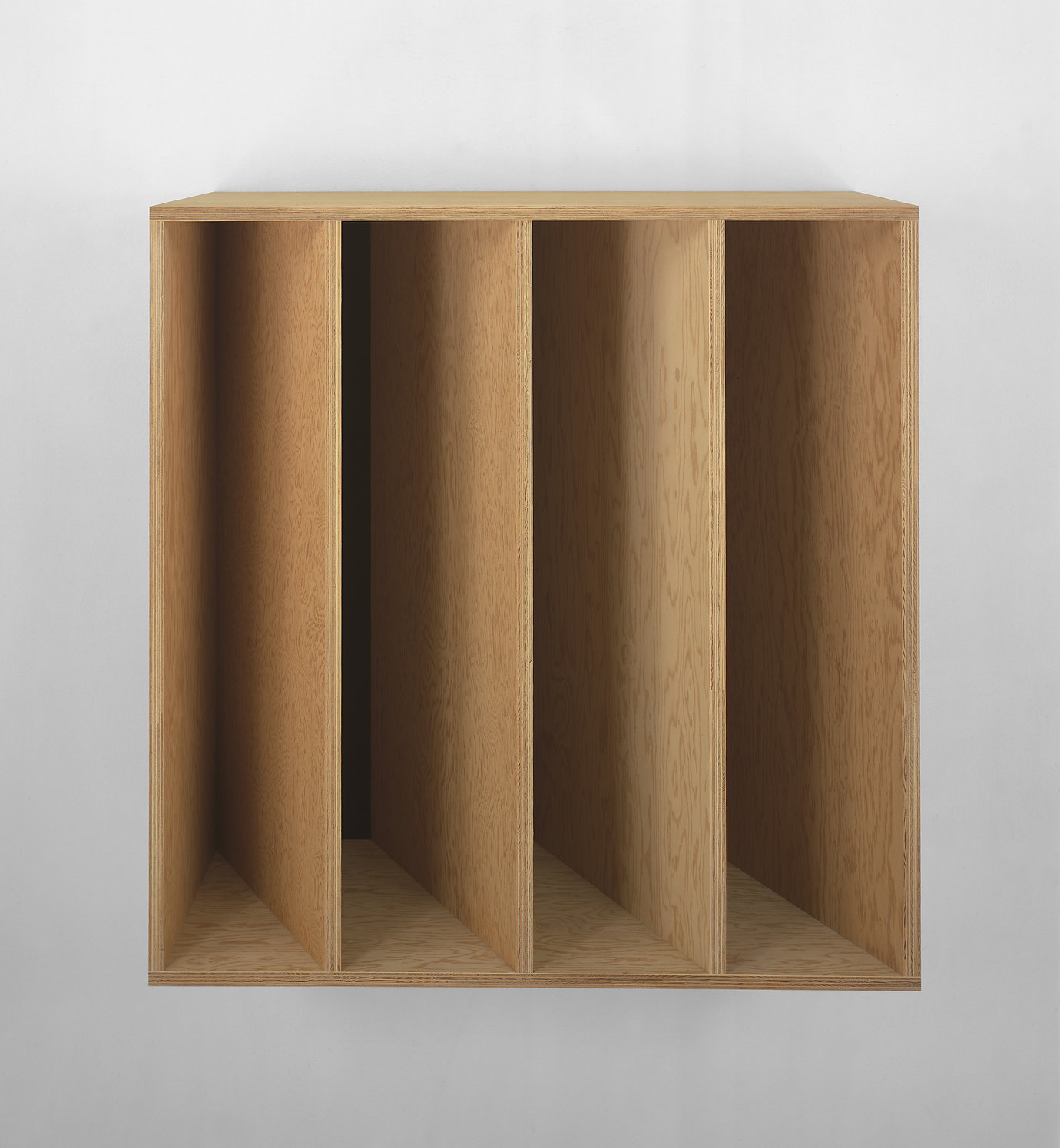 ", 1989. Douglas Fir plywood with brown Plexiglas, 39-3/8"" x 39-3/8"" x 19-5/8"" (100 cm x 100 cm x 50 cm)."