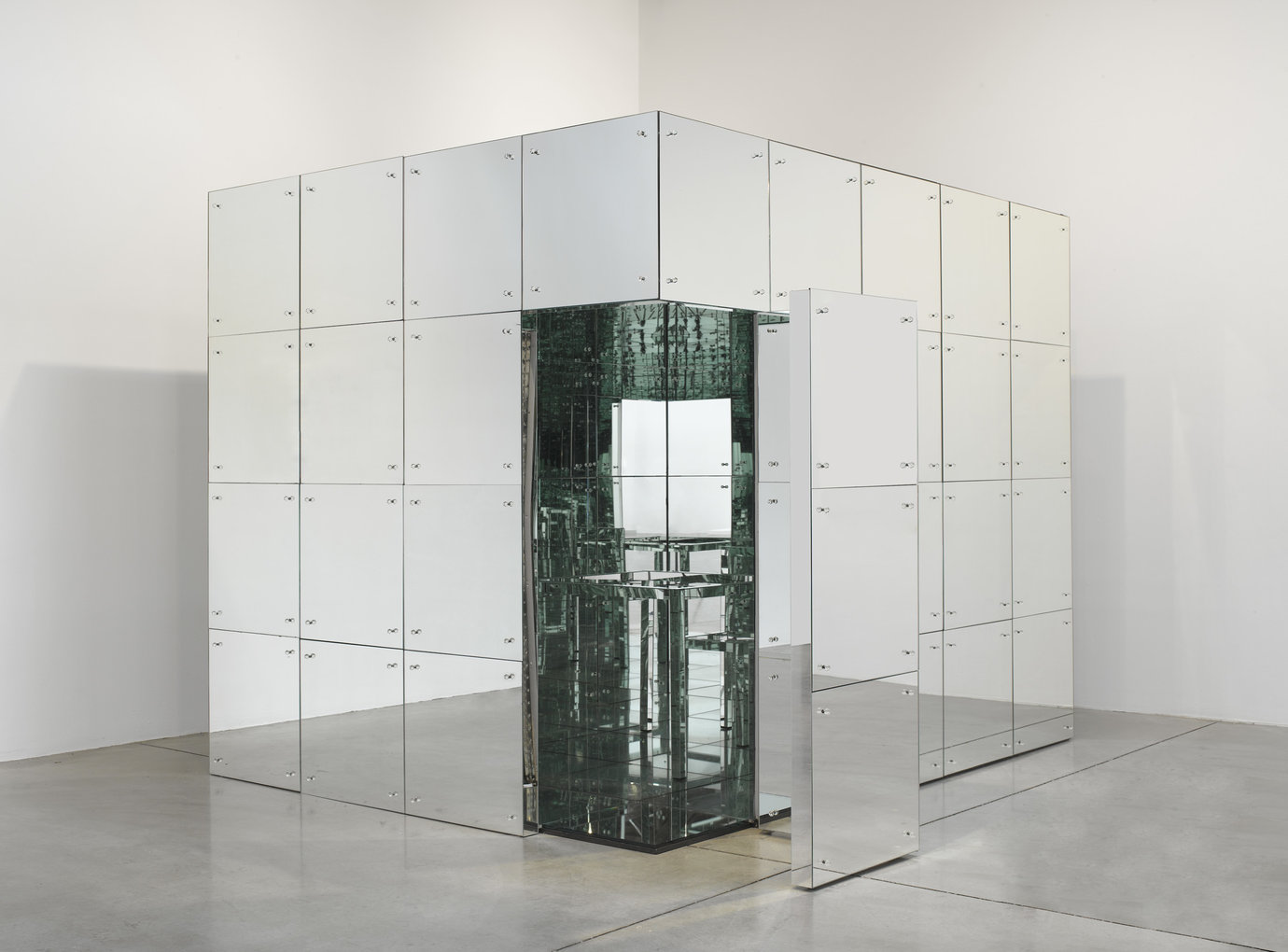", 1966. Mirrors on wooden frame, 96"" x 96"" x 10' (243.8 cm x 243.8 cm x 304.8 cm)."