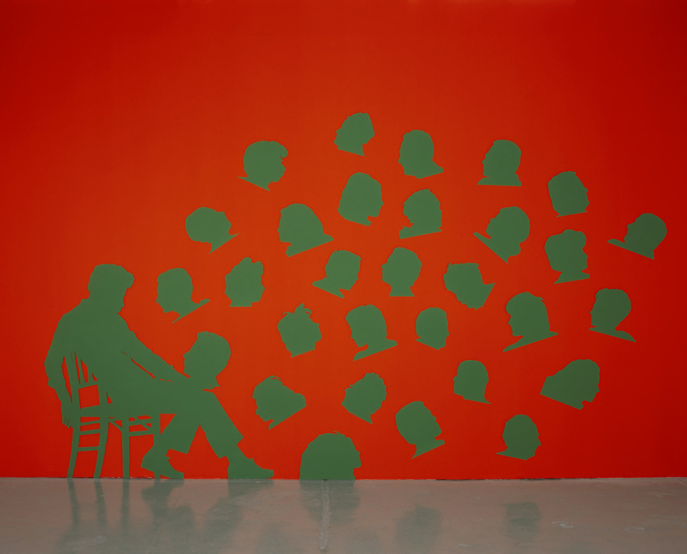 ", 1975. Painted aluminum, 10' 10"" x 8' 4"" (330.2 x 254 cm), overall; 29 heads, 1 seated figure."