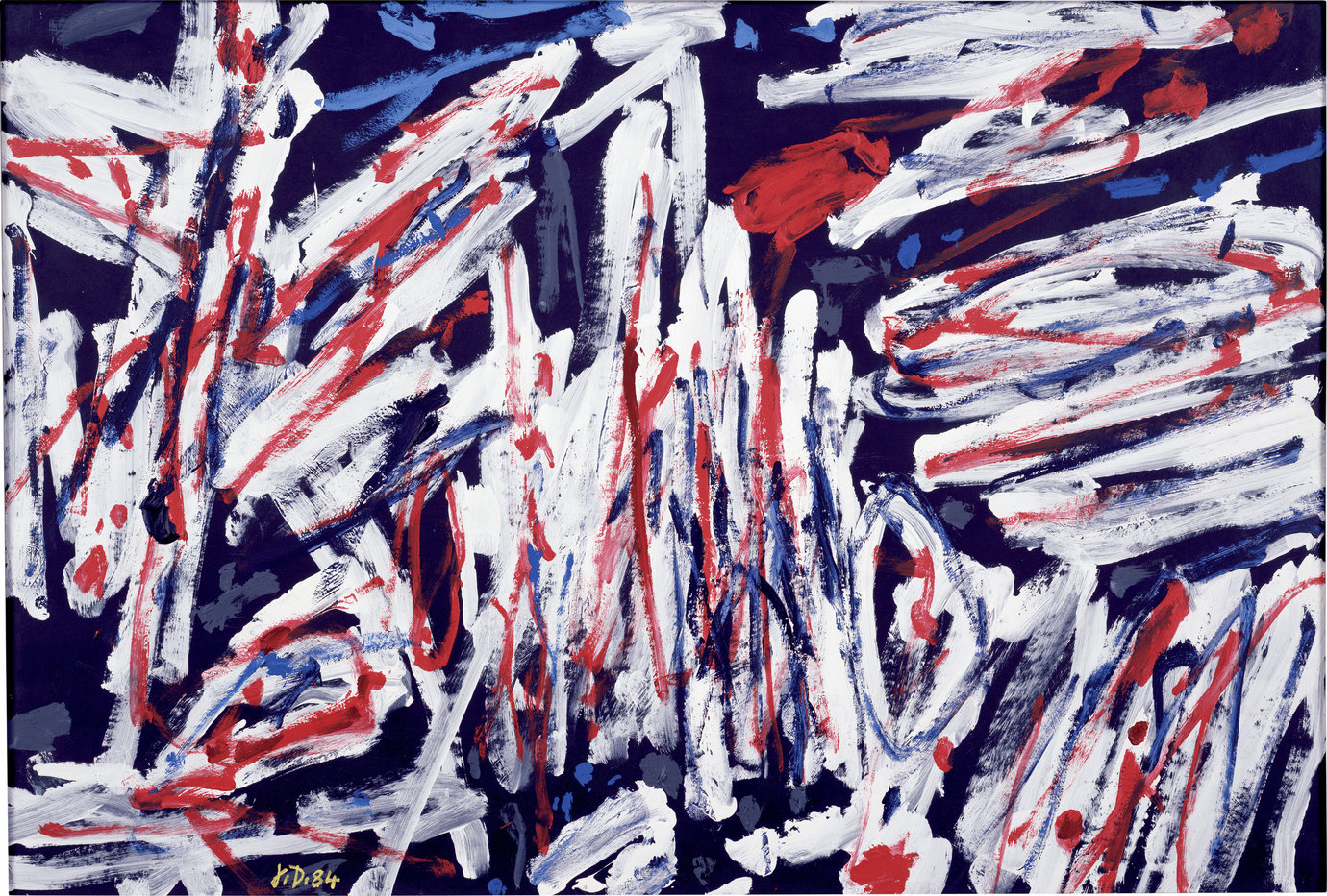 ", August 15, 1984. acrylic on canvas-backed paper, 26-1/2"" x 39-1/2"" (67.3 cm x 100.3 cm)."