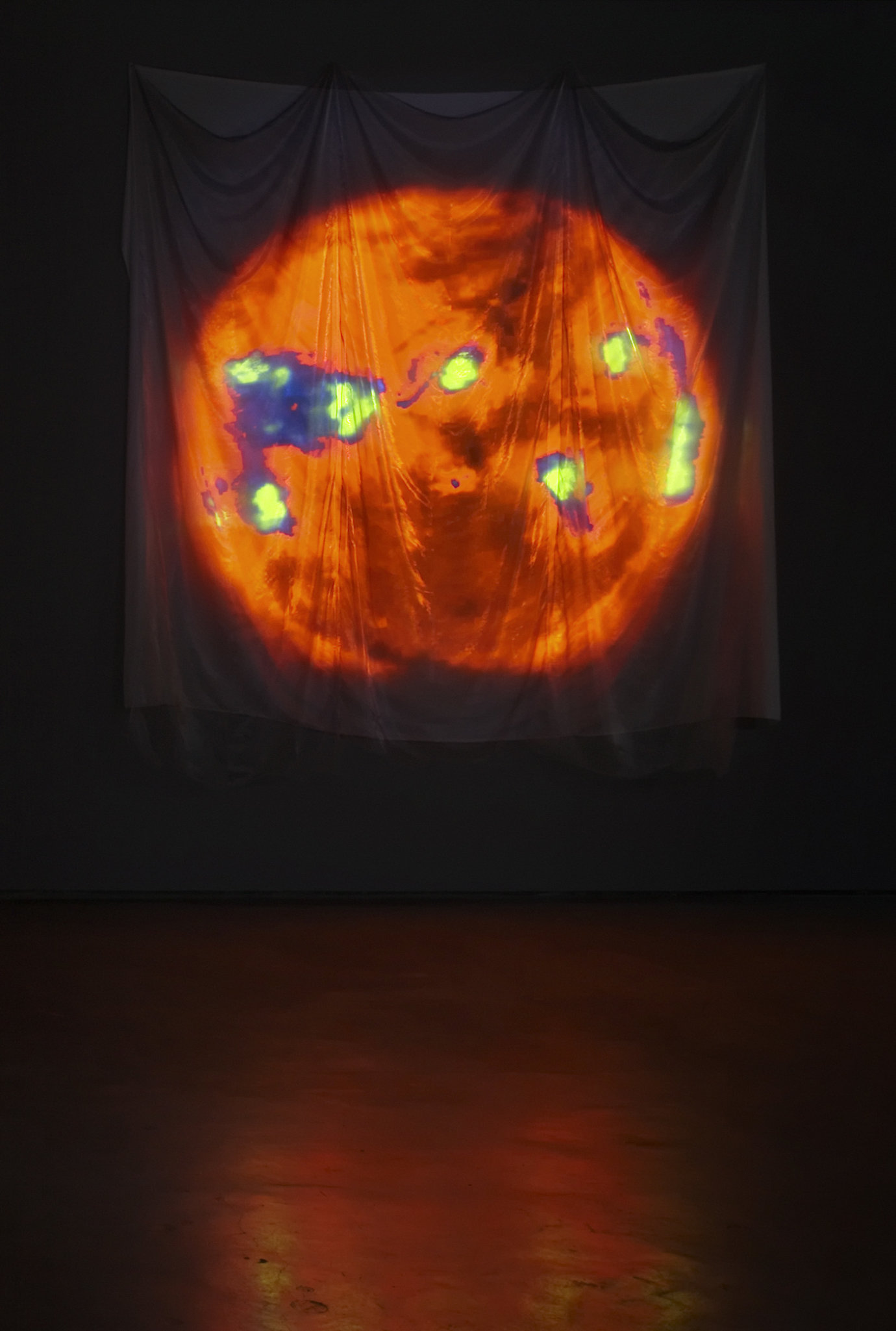 , 2007. cloth with random digital video projection, installation dimensions variable; cloth approximately 14' x 12'(426.7 cm x 365.8 cm).