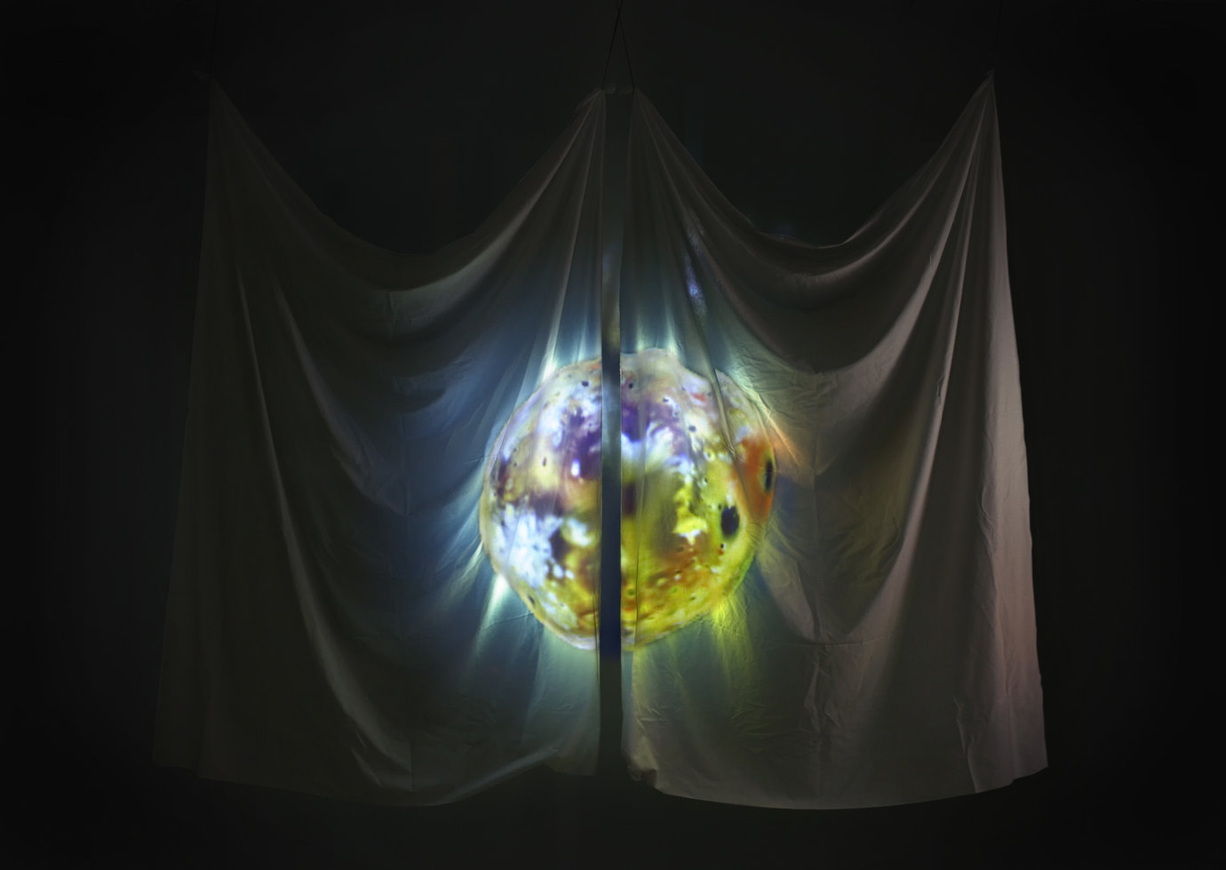 ", 2007. Cloth with looped digital video projection, installation dimensions variable; cloth approximately 11' x 8' 9"" (335.3 cm x 266.7 cm), viewable from both sides."