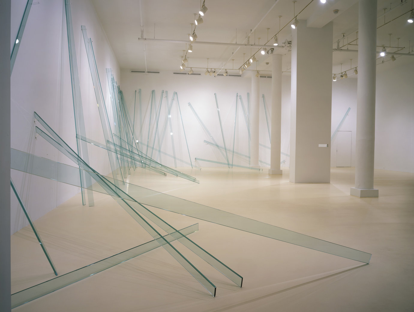 ", 2000. 50 glass units, two-way mirror and acrylic, glass: 168"" x 4"" x 5/8"" (426.7 x 10.2 x .63 cm), eachinstallation dimensions variable."
