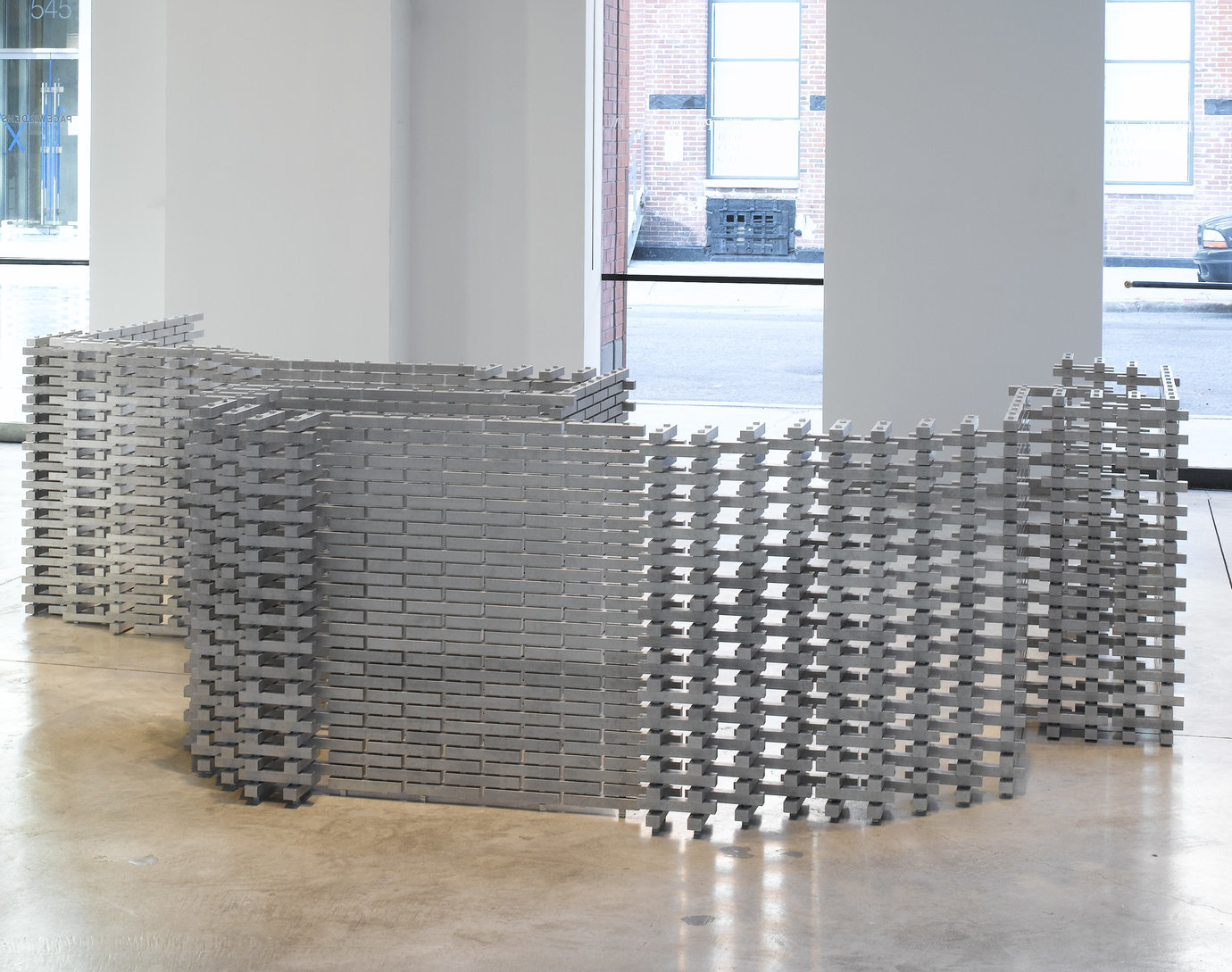", 2006. aluminum, stainless steel and zinc plated steel, 36"" x 12' x 10' (91.4 cm x 365.8 cm x 304.8 cm)."