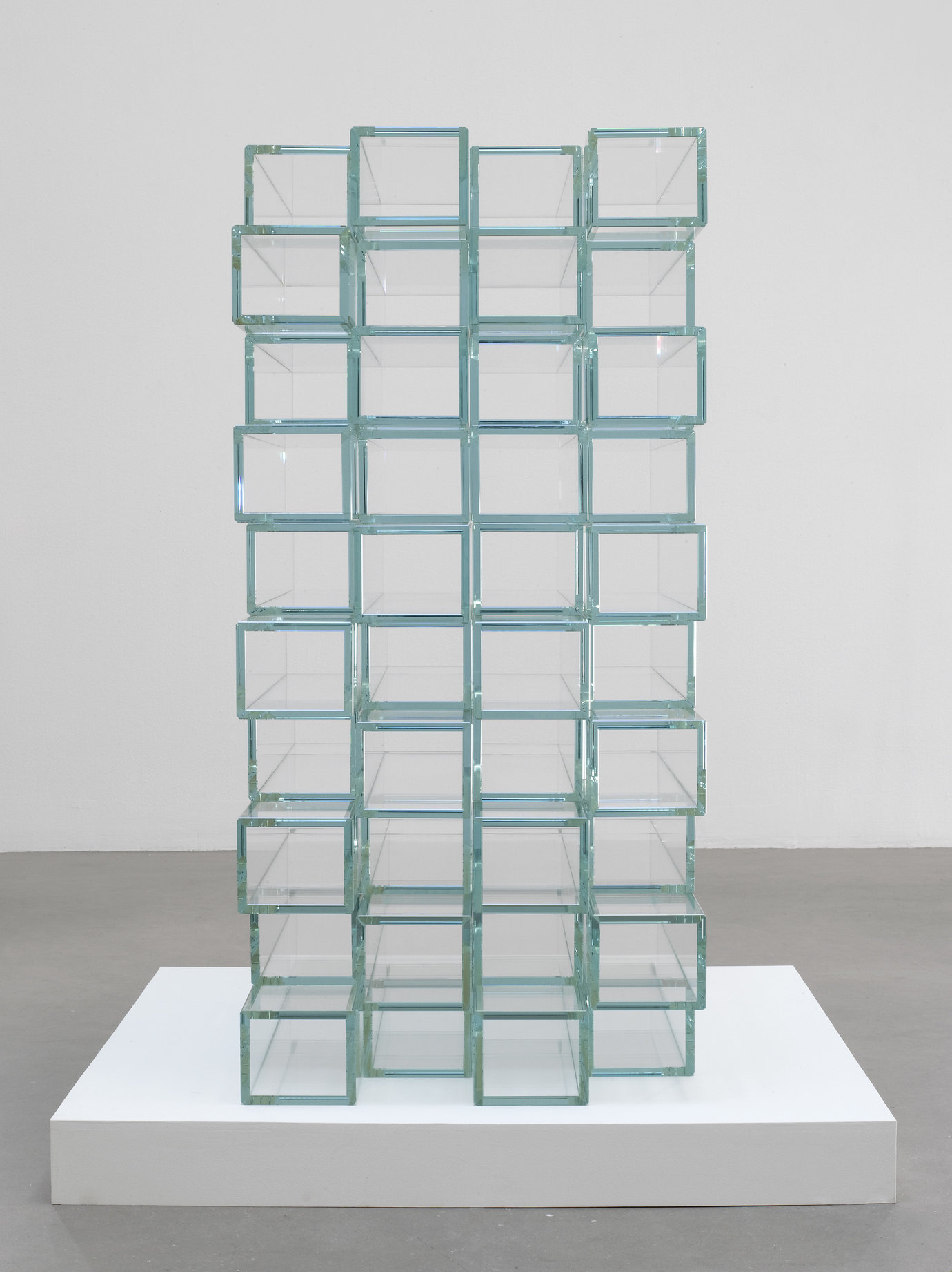 ", 2009. Low iron glass, 47-1/8"" x 22-3/4"" x 29-1/8"" (119.7 cm x 57.8 cm x 74 cm),40 square glass tubes, stacked, overall."