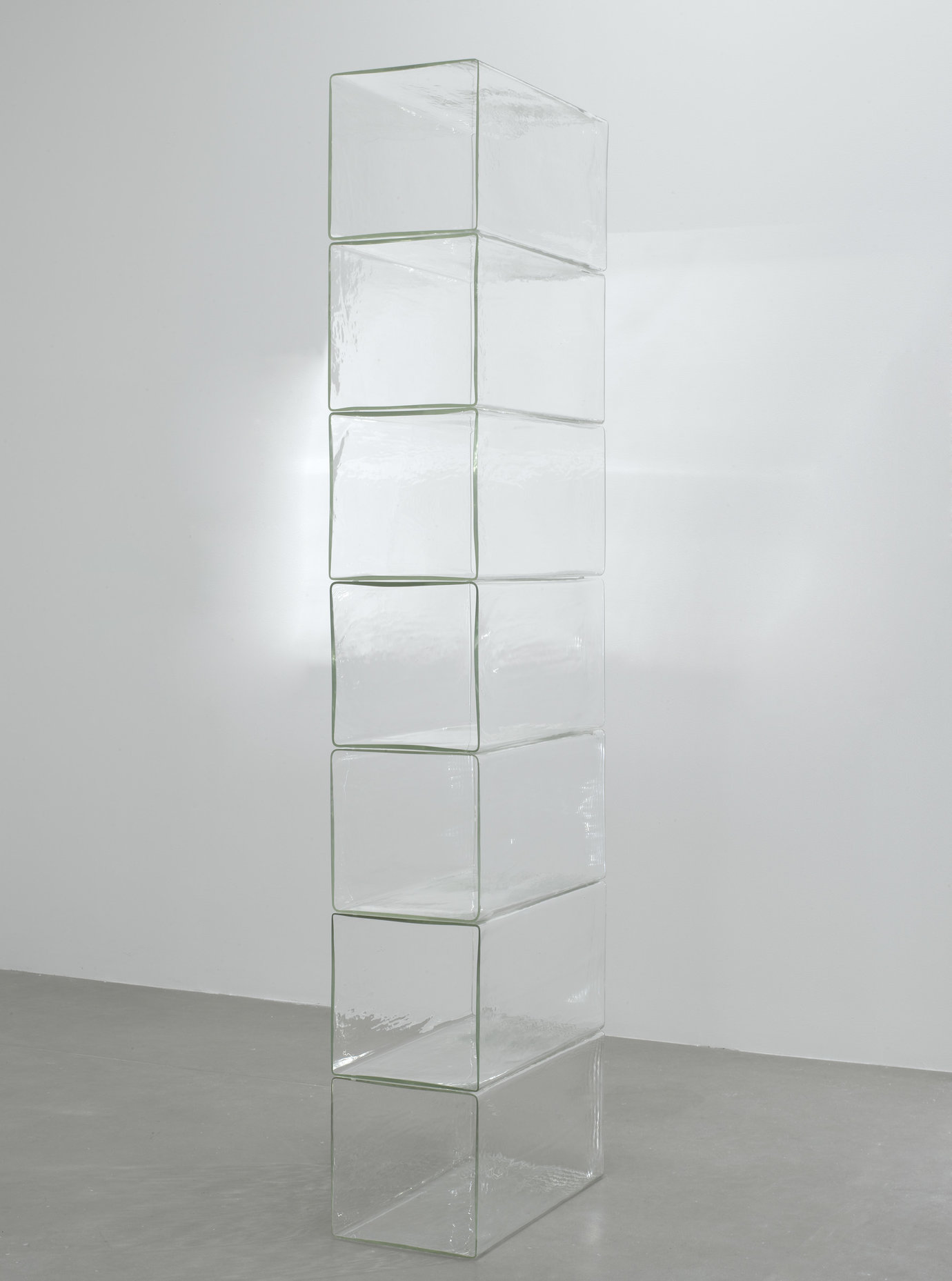", 2009. borosilicate glass, 86-1/2"" x 12-1/4"" x 23-3/4"" (219.7 cm x 31.1 cm x 60.3 cm),7 borosilicate glass elements, stacked, overall."