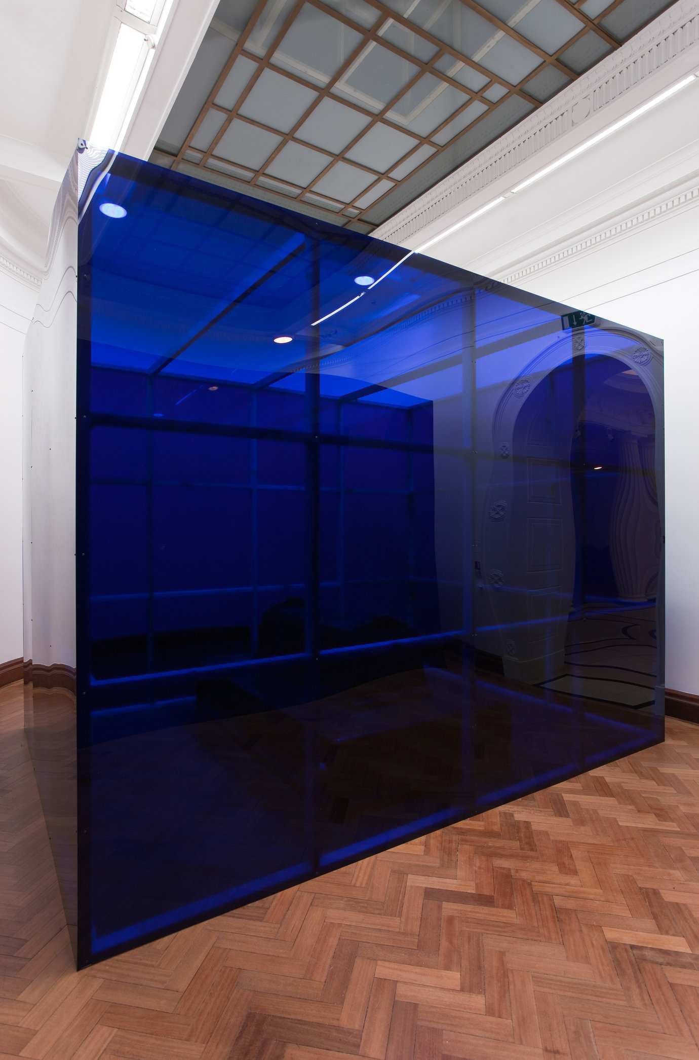 ", 2009. blue plexiglas, timber, site-specific installation10' 1/16"" x 9' 11-7/8"" x 13' 3-13/16"" (305 cm x 304.5 cm x 406 cm), 2 structures, each."