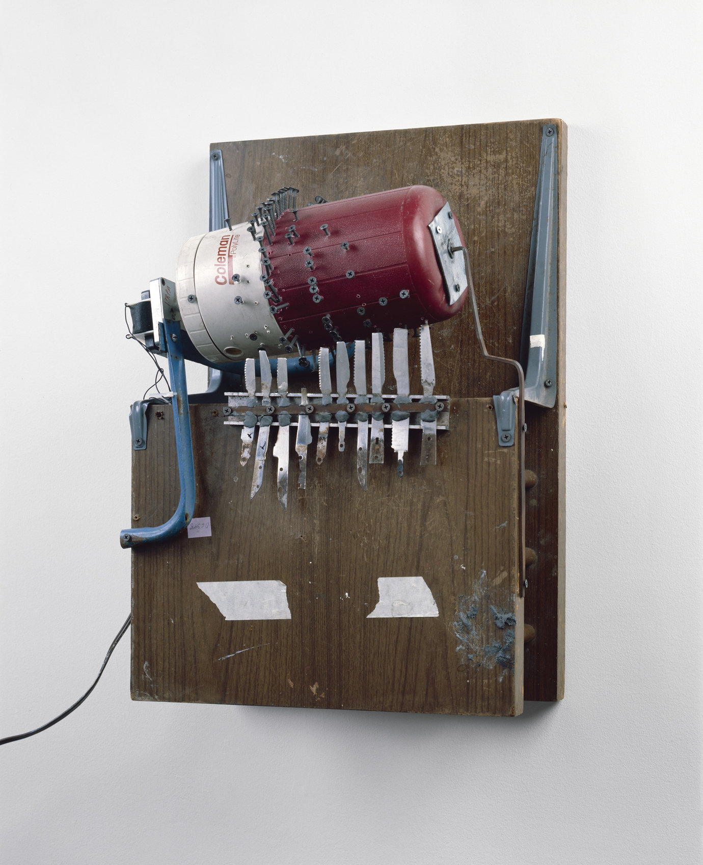 ", 1994. end table, thermos and steak knives, 32"" x 12"" x 18"" (81.3 cm x 30.5 cm x 45.7 cm)."