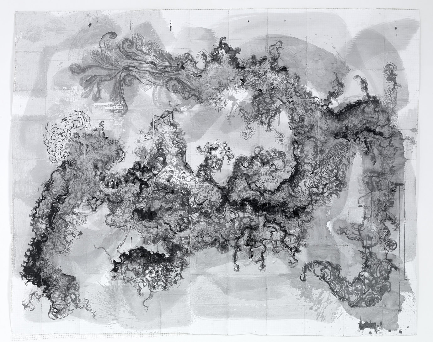", 2007. Ink on paper over netting, 7&apos; 8"" x 9&apos; 4"" (233.7 cm x 284.5 cm)."