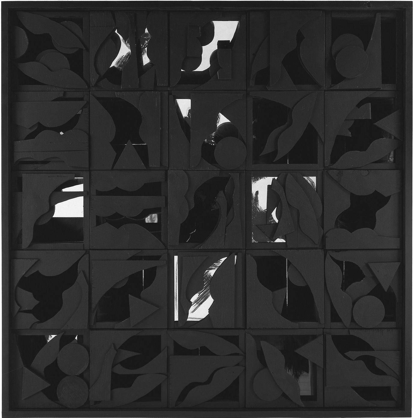 ", 1964. wood painted black with mirror, 49-3/4"" x 49-3/4"" x 10"" (126.4 cm x 126.4 cm x 25.4 cm)."