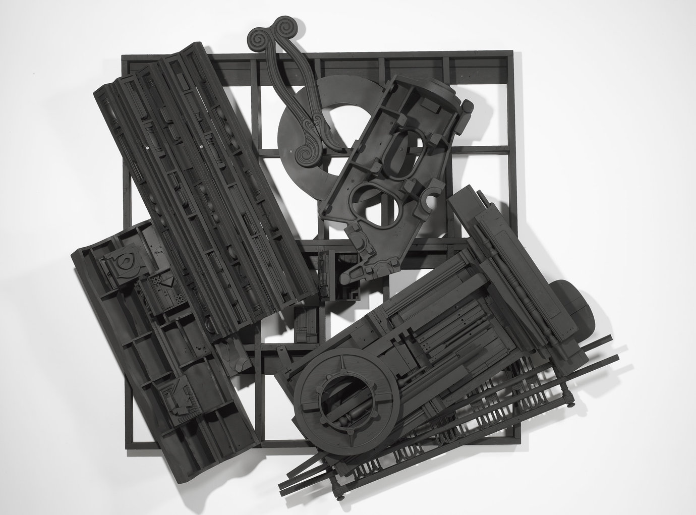 ", 1985. Wood painted black, 9' 9"" x 11' 7"" x 1' 9"" (297.2 cm x 353.1 cm x 53.3 cm)."