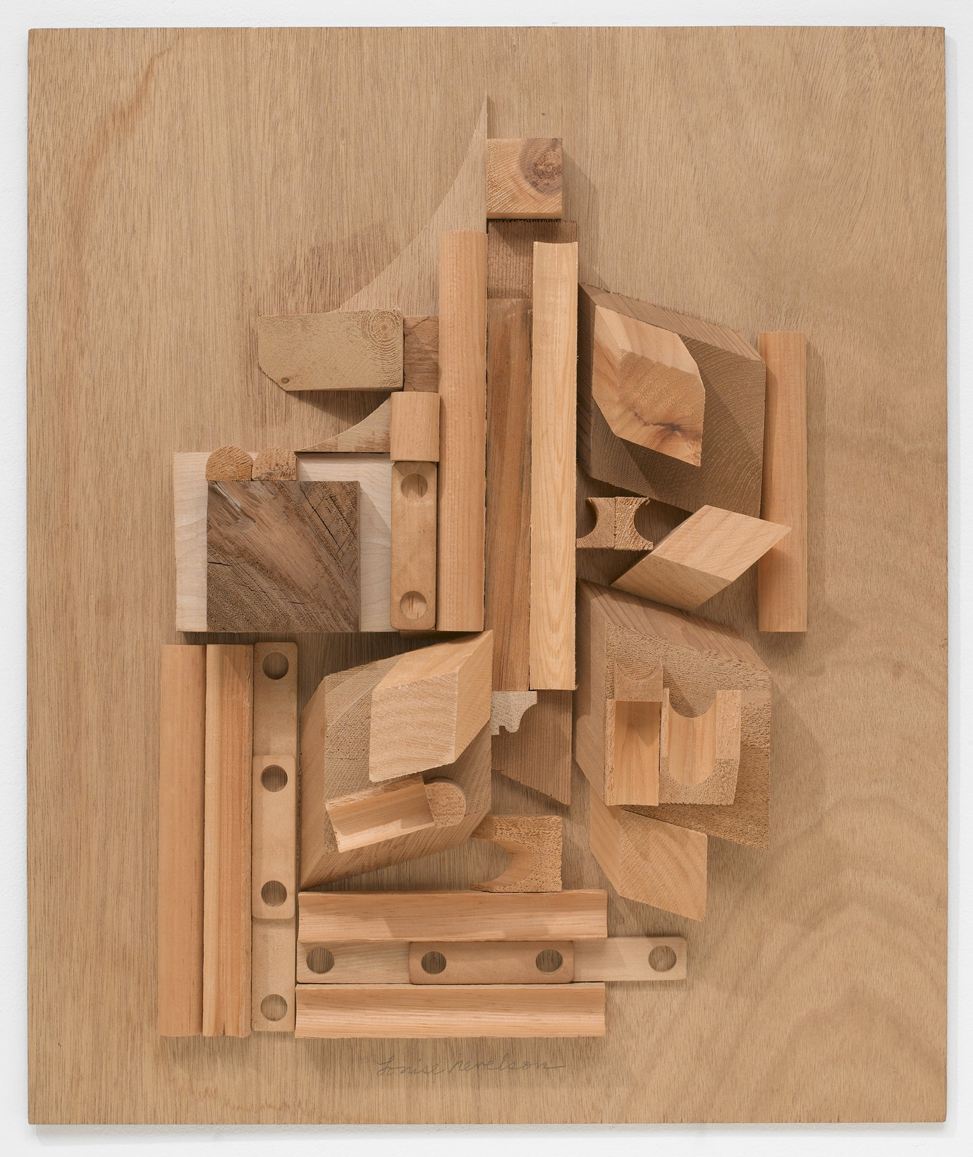 ", 1979. Wood collage, 23-7/8 x 20"" (60.6 x 50.8 cm)."