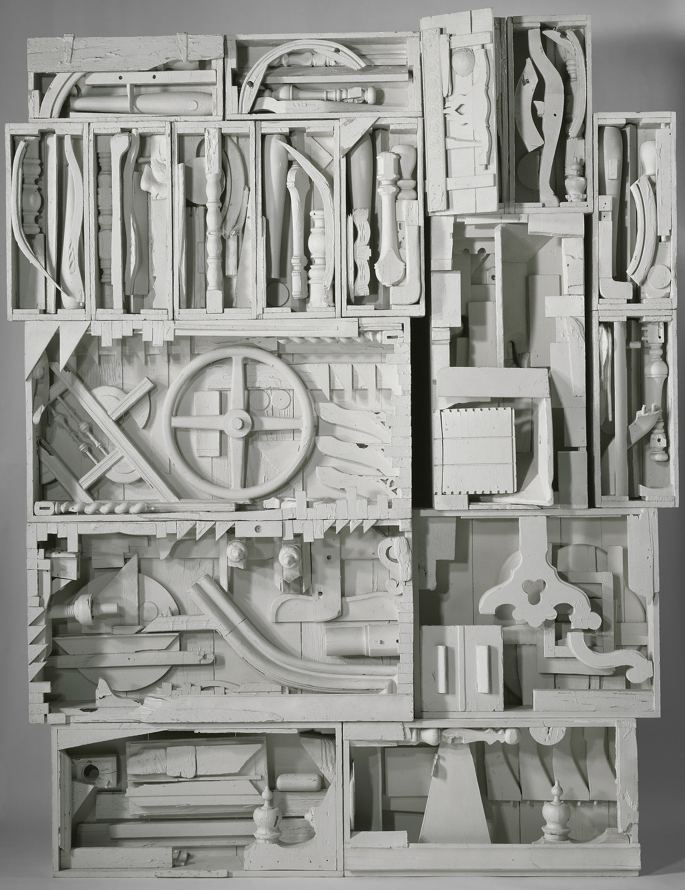 ", 1959-60. Wood painted white, 9' 1"" x 7' 3"" x 1' 1-1/2"" (276.9 x 221 x 34.3 cm)."