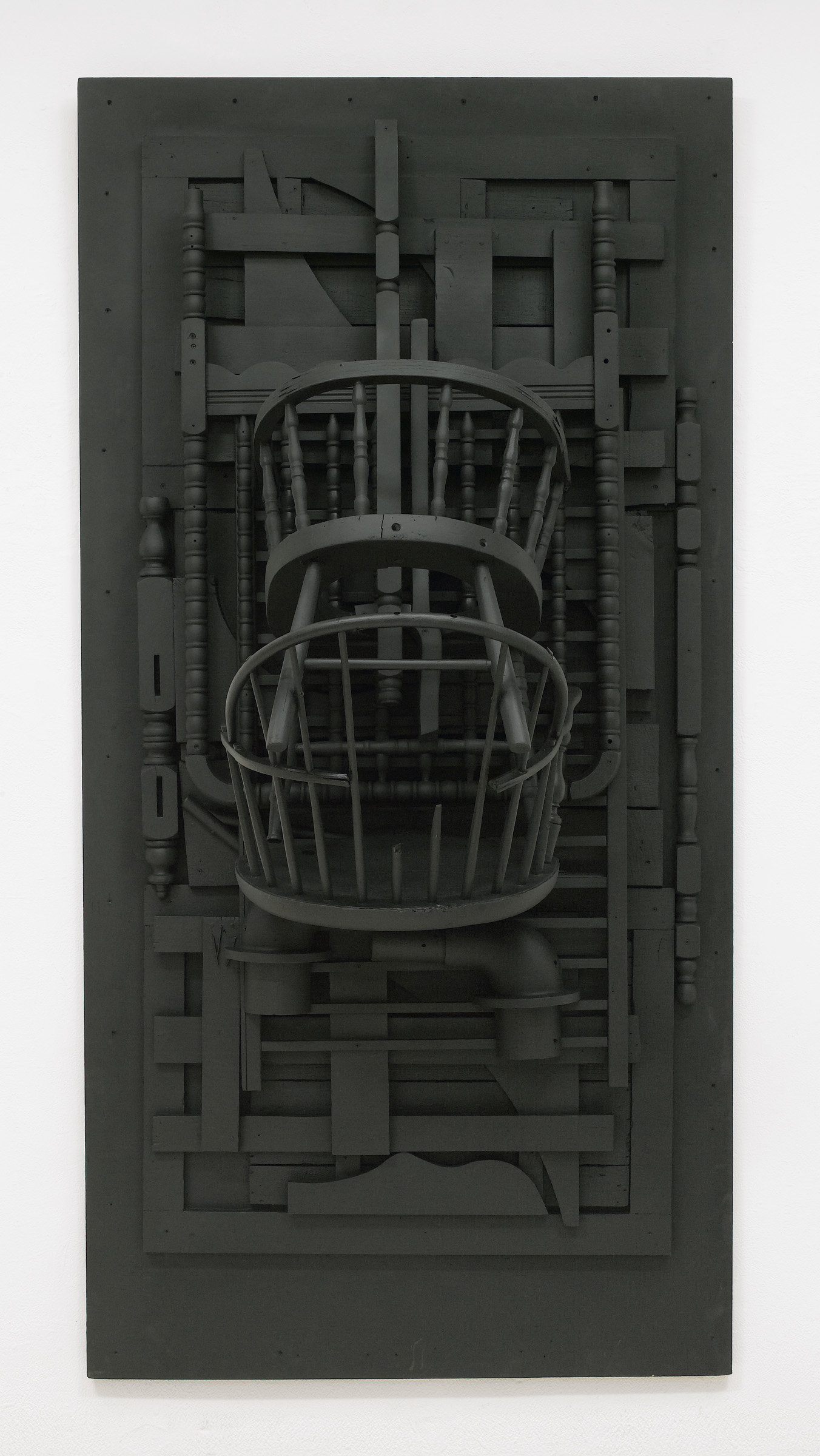", 1976. wood painted black, 96"" x 48"" x 30-1/4"" (243.8 cm x 121.9 cm x 76.8 cm)."