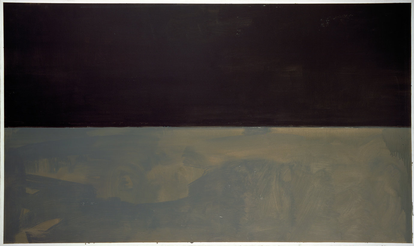 ", 1969. acrylic on canvas, 69-3/4"" x 117"" (177.2 cm x 297.2 cm)."