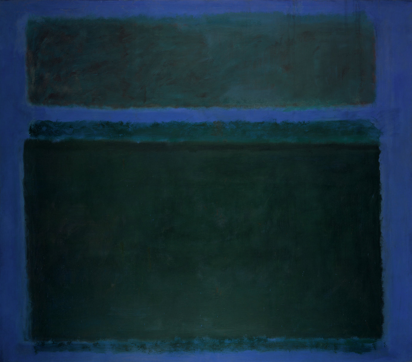 ", 1957. oil on canvas, 8' 7"" x 9' 8-1/2"" (261.6 cm x 295.9 cm)."