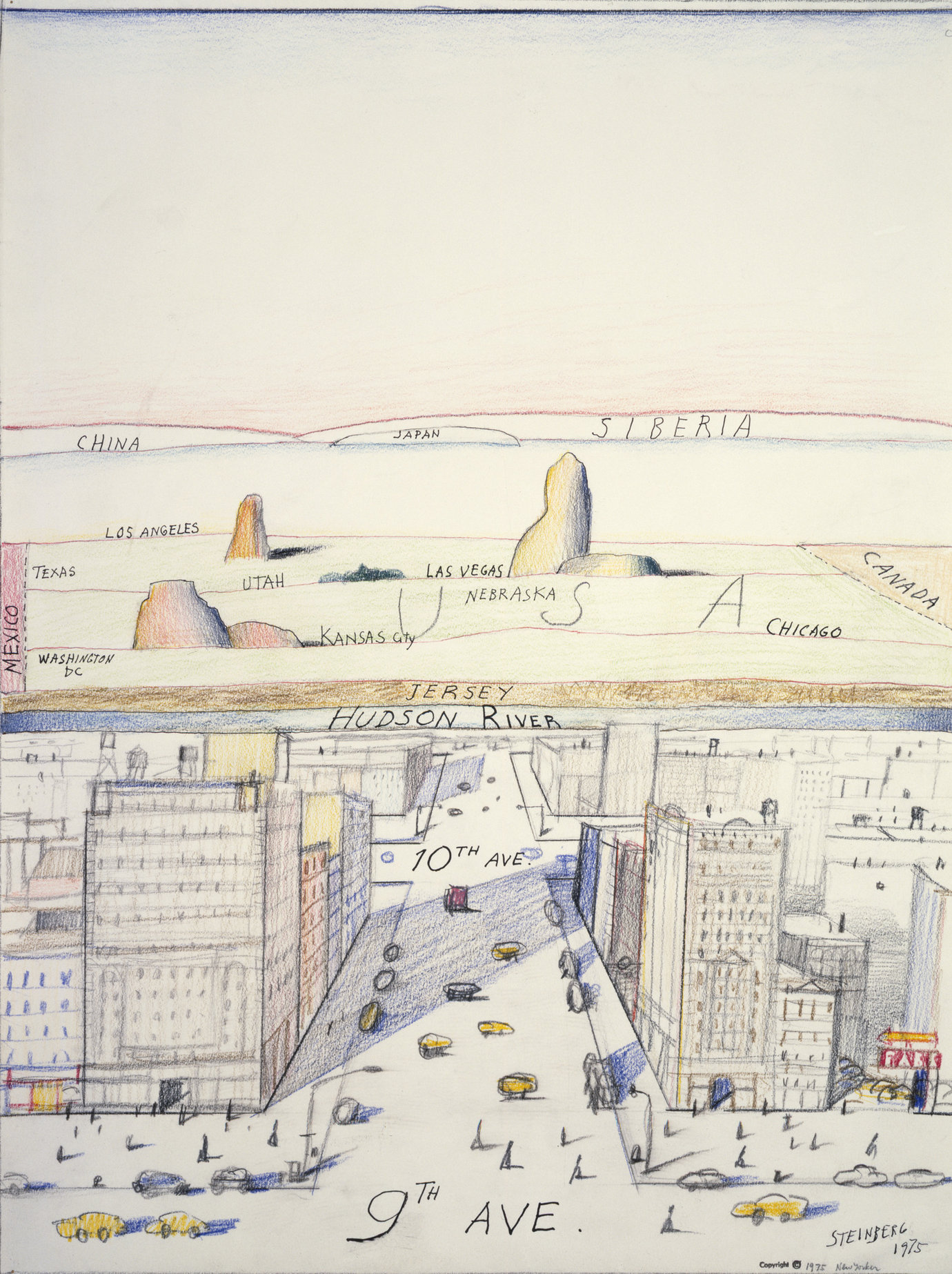 ", 1975. crayon and graphite on paper, 20"" x 15"" (50.8 cm x 38.1 cm)."