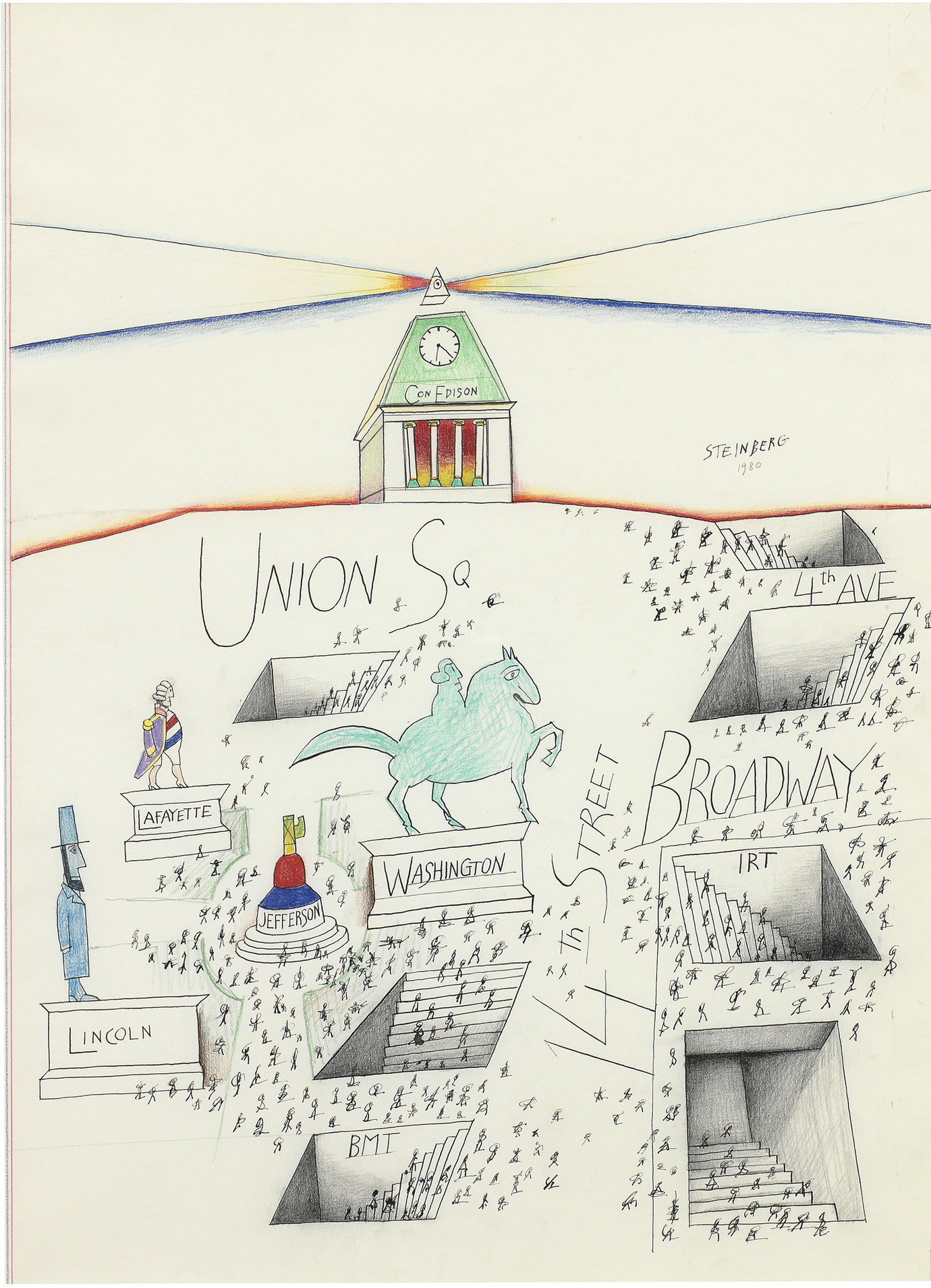 ", 1980. colored pencil, crayon, graphite, ink and pastel on paper, 29 x 19-3/4"" (73.7 x 50.2 cm)."
