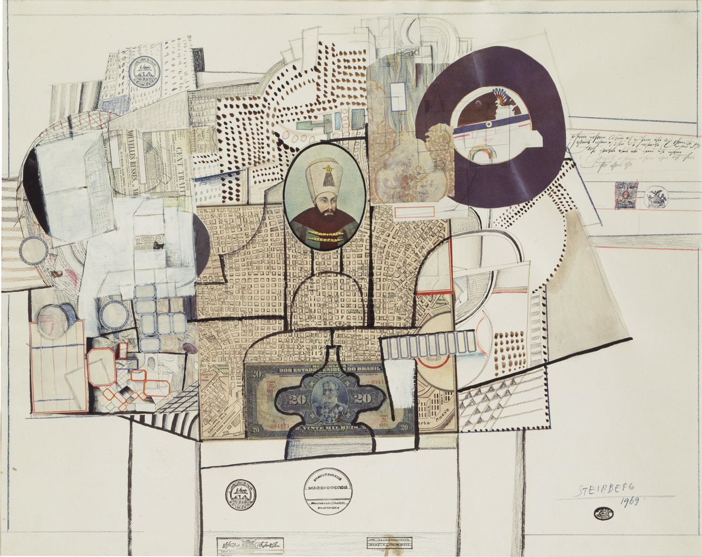 ", 1969. Pen, ink, colored pencil, graphite, oil paint, rubber stamps and collage on paper, 22-3/4"" x 28-3/4"" (57.8 cm x 73 cm)."