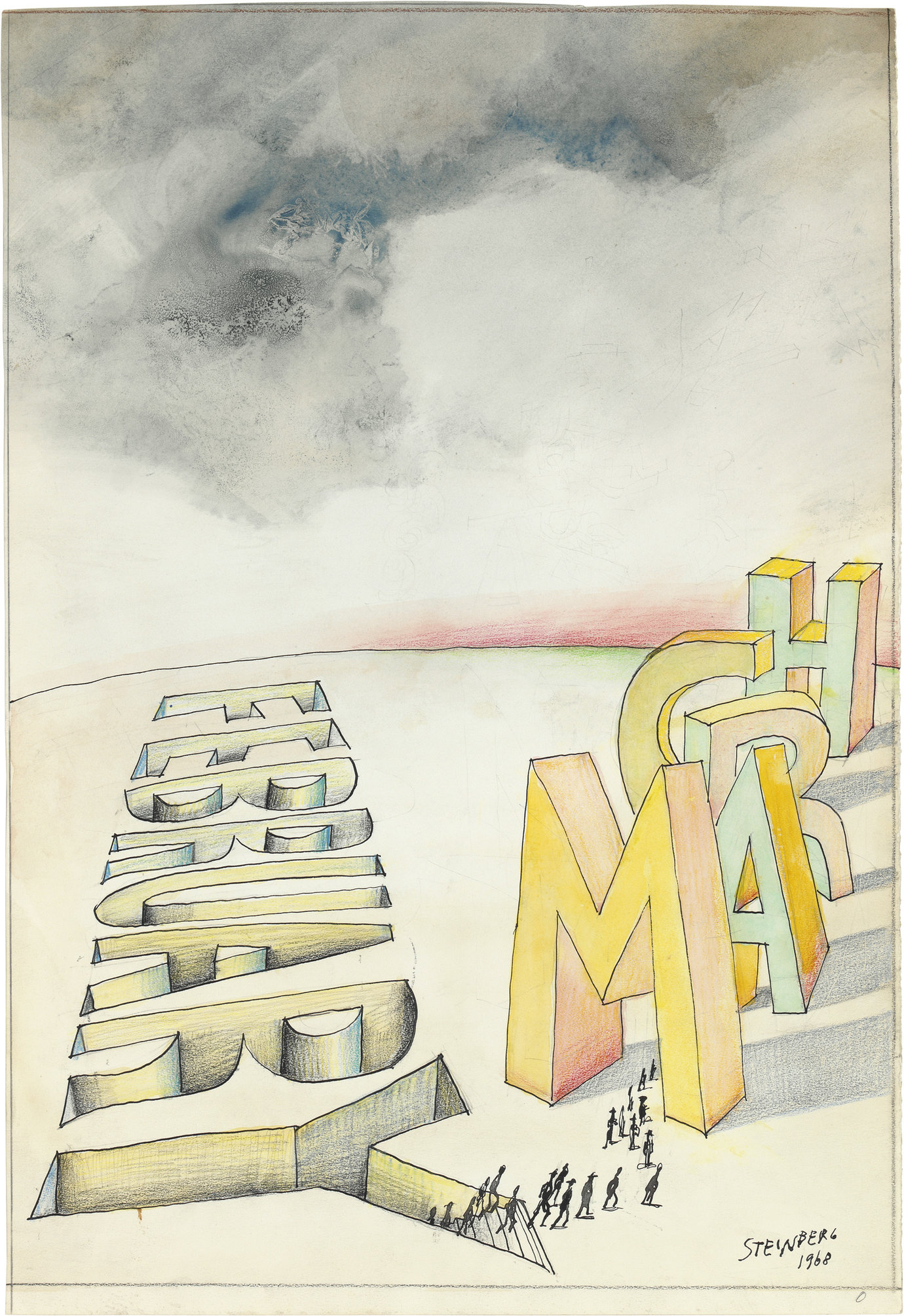", 1968. colored pencil, graphite, ink and watercolor on paper, 21-1/2"" x 14-3/4"" (54.6 cm x 37.5 cm)."