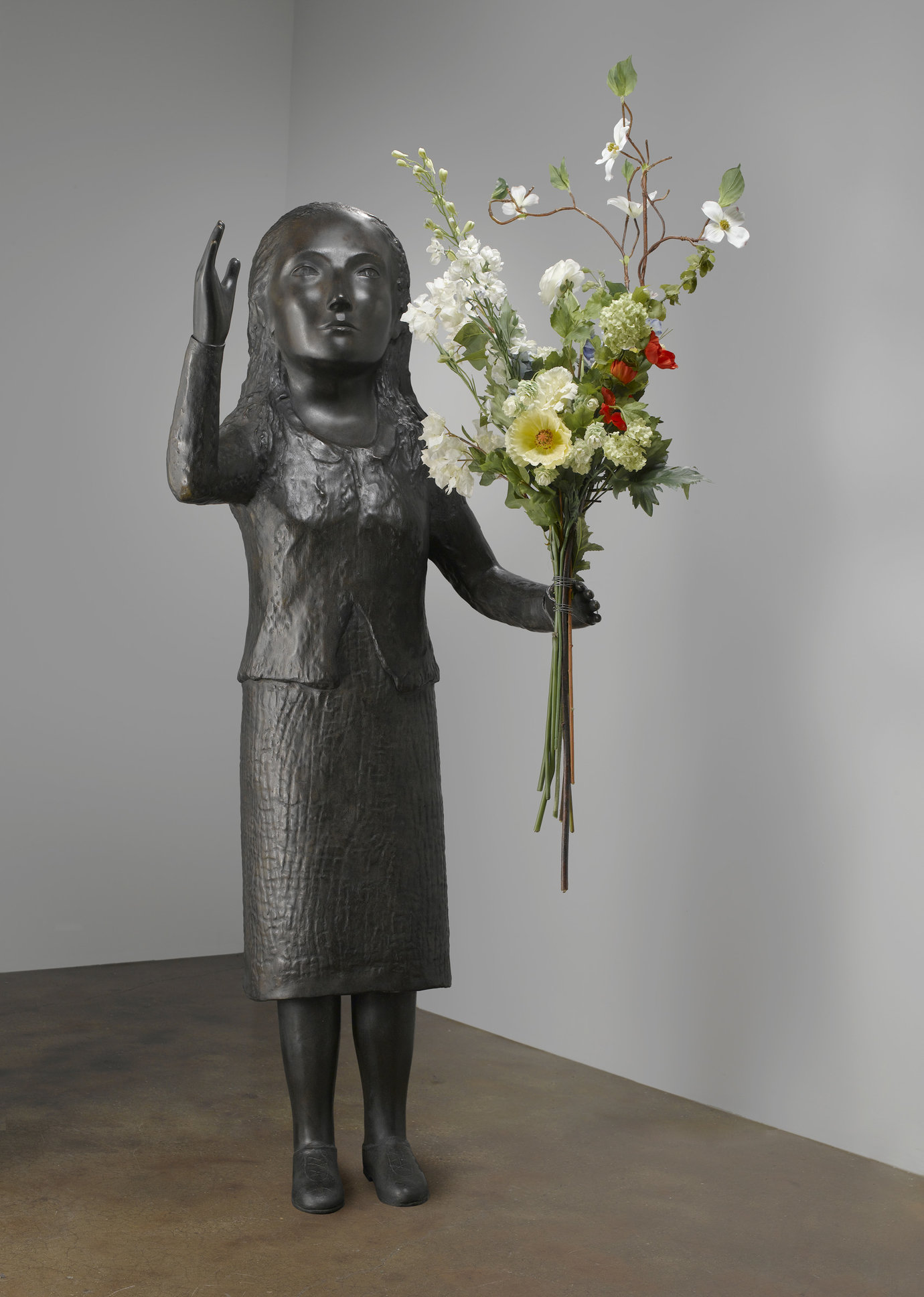 ", 2009. bronze, 64-1/2"" x 25"" x 21"" (163.8 cm x 63.5 cm x 53.3 cm), figure53-1/2"" x 20"" x 17-1/2"" (135.9 cm x 50.8 cm x 44.4 cm), flowers, variable."