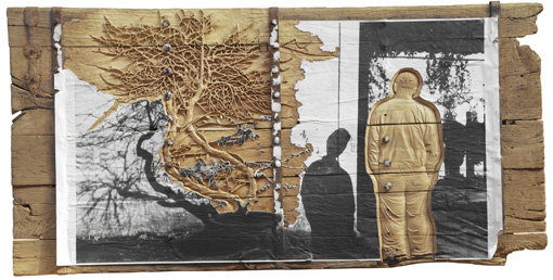 ", 2007. Silkscreen mounted on carved antique wood door, 5' 5-1/2"" x 10' 11-1/4"" x 6-1/2"" (166.4 cm x 333.4 cm x 16.5 cm)."