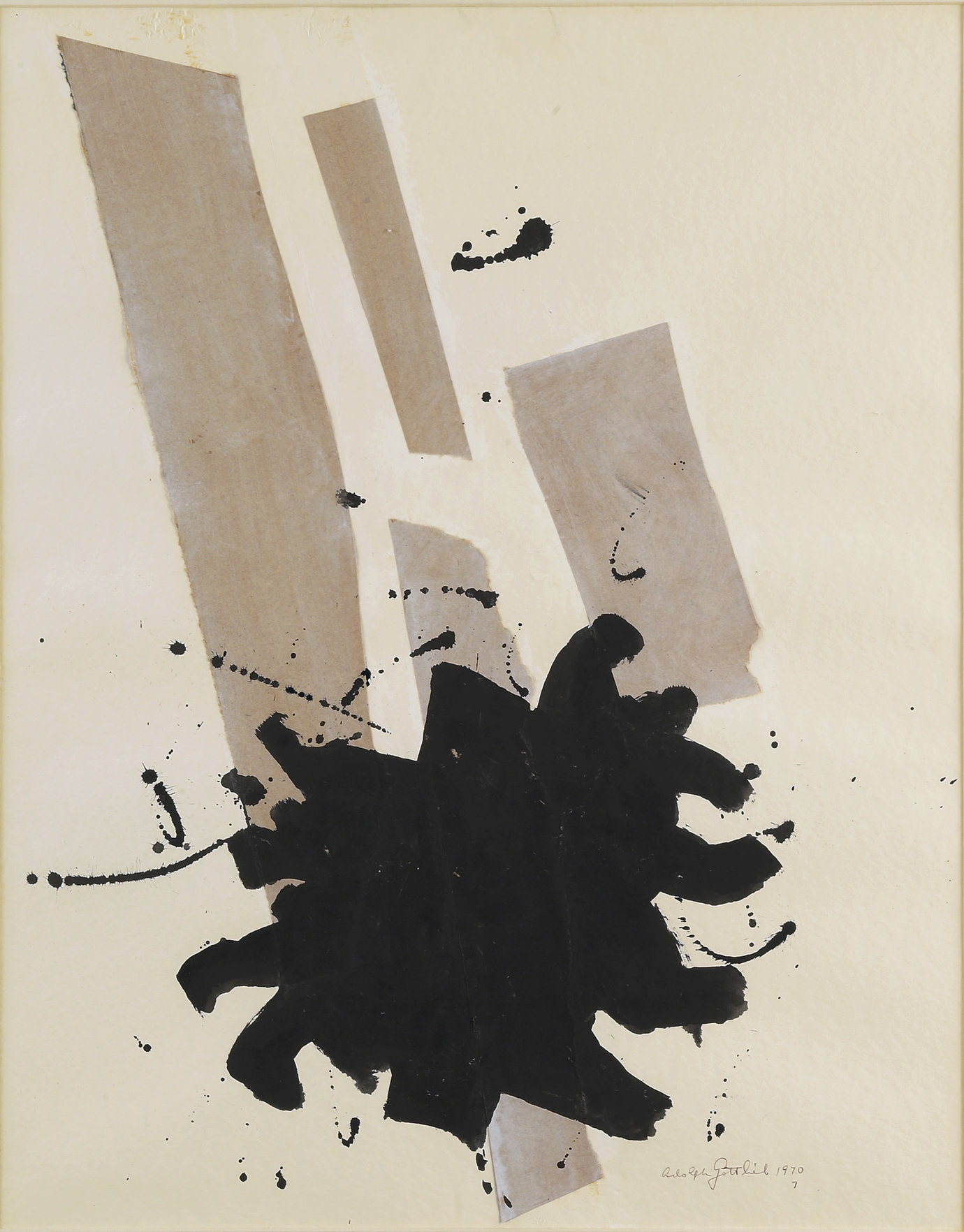 ", 1970. collage and ink on paper, 24"" x 19"" (61 cm x 48.3 cm)."