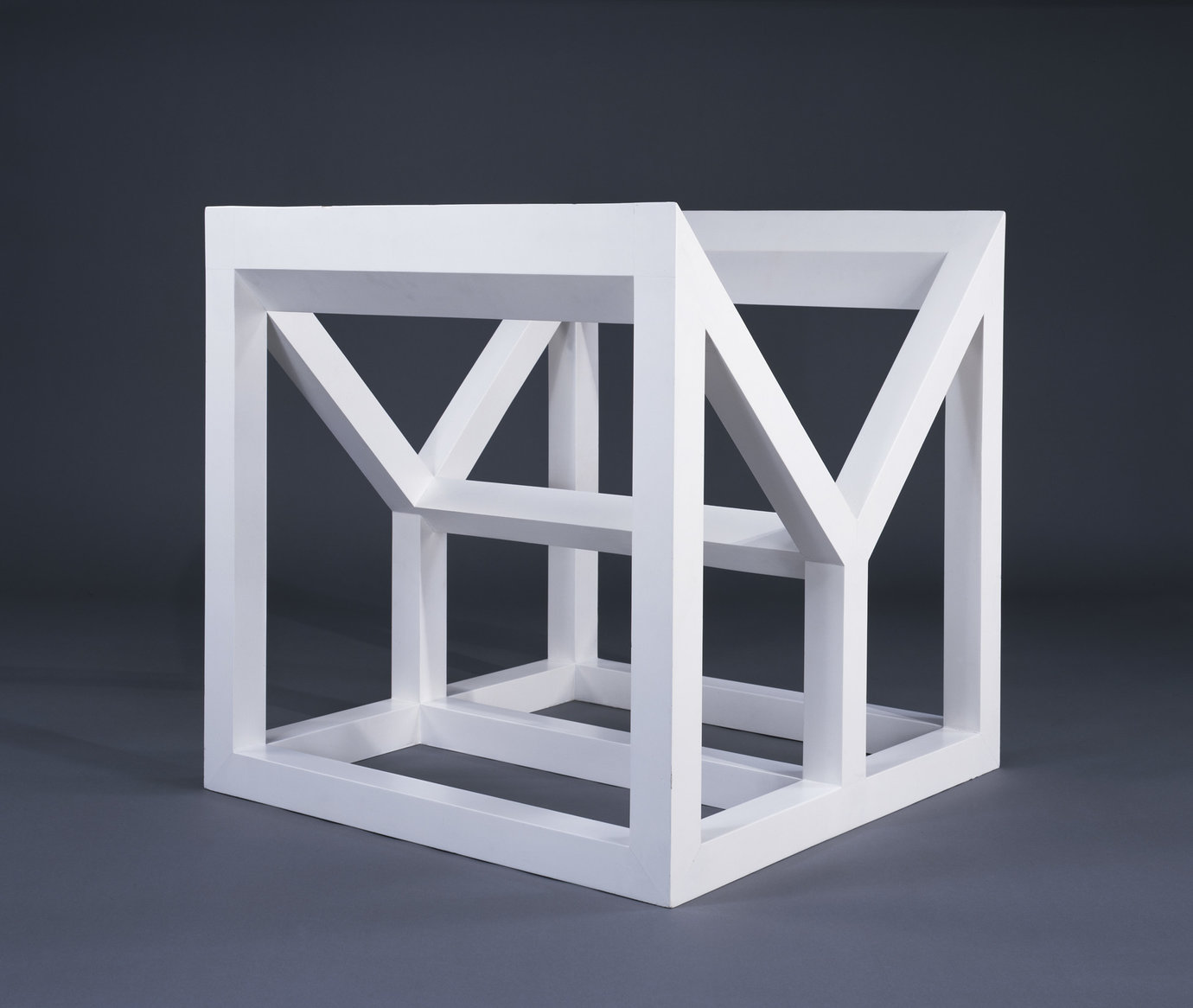 ", 1983. wood painted white, 31-1/2"" x 31-1/2"" x 31-1/2"" (80 cm x 80 cm x 80 cm)."