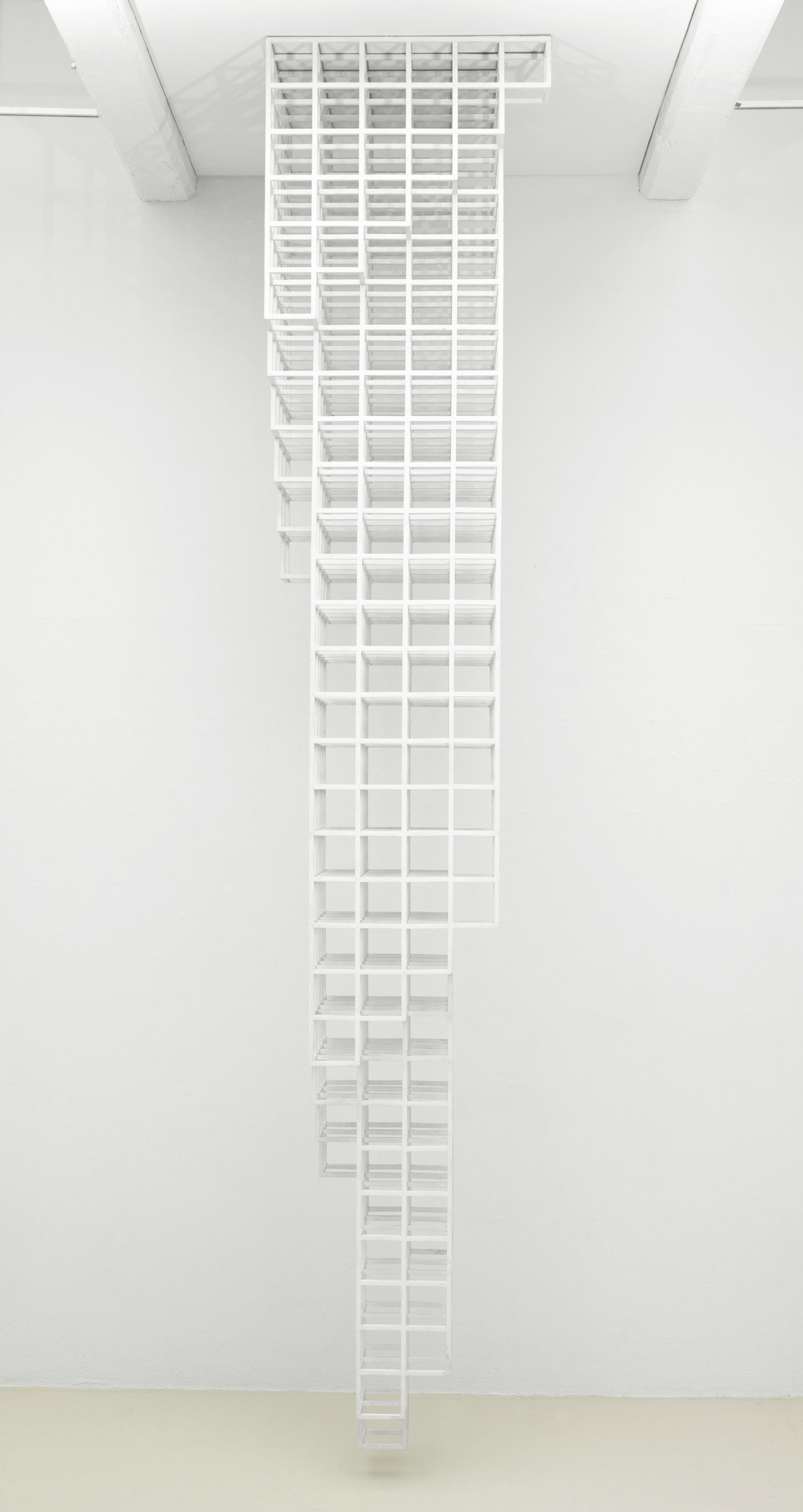 ", 1987. wood painted white, 12' 3-3/4"" x 2' 5"" x 2' 5"" (375.3 cm x 73.7 cm x 73.7 cm)."