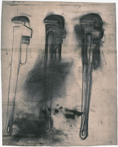 ", 2000. Charcoal on etching felt, 51-3/4 x 41-3/4"" (131.4 x 106 cm), irregular."