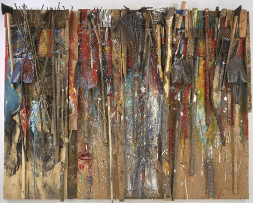 ", 2001. Oil, enamel, charcoal, bondo and found objects on two wood panels, 6' 9"" x 8' 4"" (205.7 x 254 cm), overall."