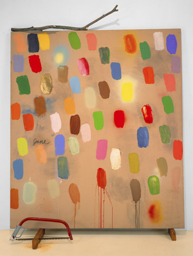 ", 1969. Acrylic on canvas with objects, 8' 8"" x 78"" (264.2 x 198.1 cm)."