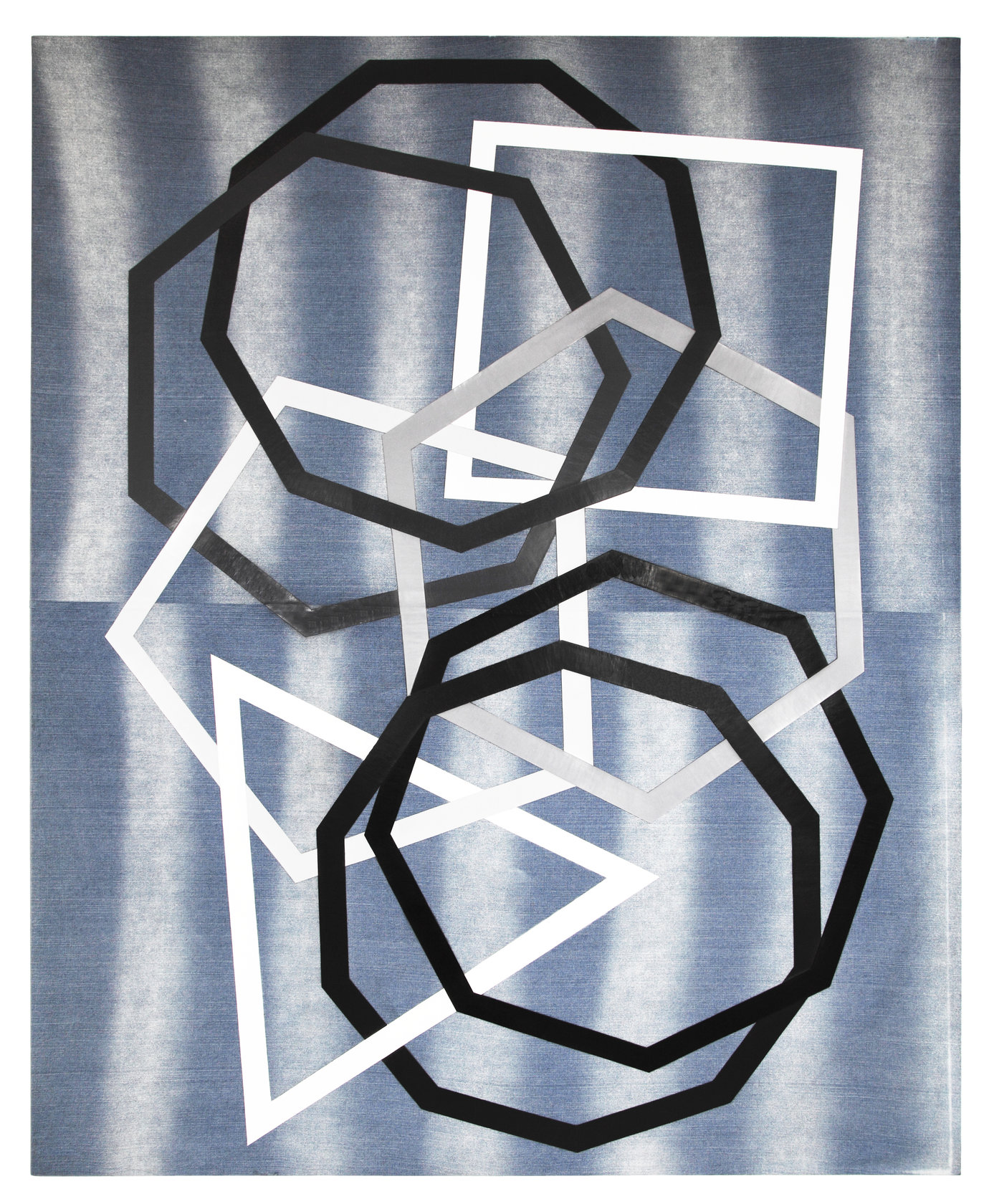 . Acrylic on denim, 250 x 200 x 8 cm, 2012.