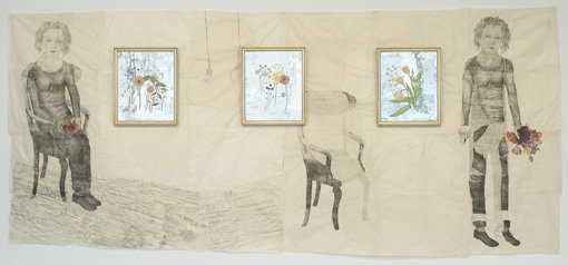 ", 2007-2008. Ink on nepal paper with glass glitter, lithographic crayon and silk tissue;&#x000A;oil paint on mouth-blown clear antique glass with white and yellow gold leaf, two works on nepal paper, 73-1/2"" x 85-1/2"" (186.7 cm x 217.2 cm) and 75"" x 86"" (190.5 cm x 218.4 cm)&#x000A;three glass panels, 23-5/8"" x 19-3/4"" (60 cm x 50.2 cm) each."