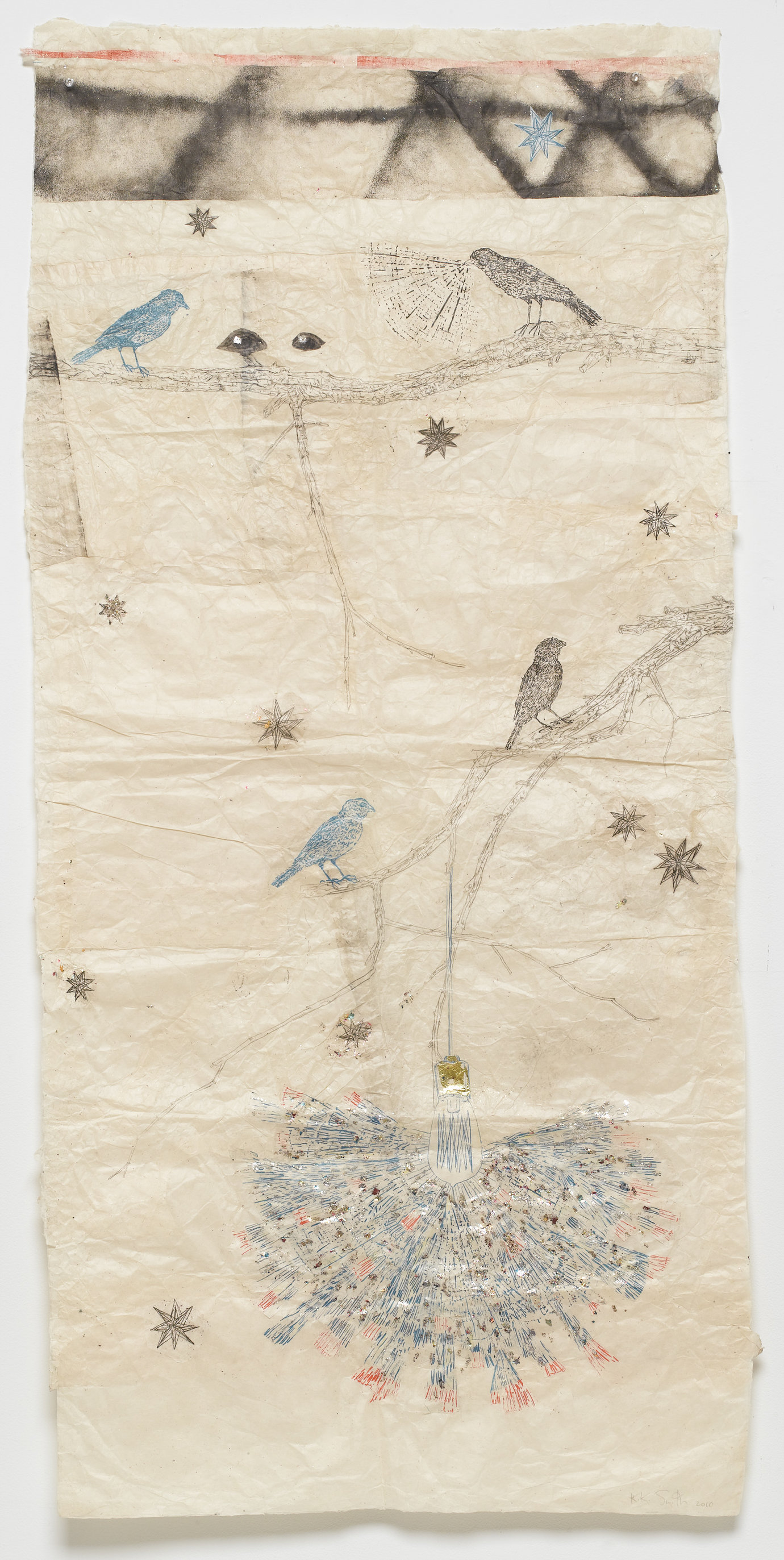 ", 2010. ink on Nepal paper with glitter, silver and gold leaf, 59-3/8"" x 28-1/4"" (150.8 cm x 71.8 cm)."