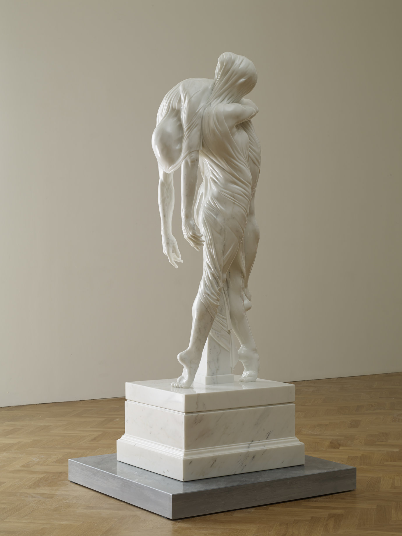 ", 2013. Statuary white marble sculpture and base, Bardiglio marble plinth, 217 cm x 109 cm x 99.5 cm (85-7/16"" x 42-15/16"" x 39-3/16"")."