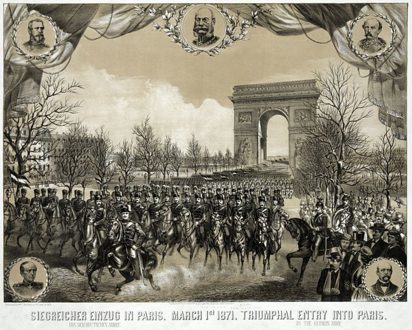 748px triumphal entry into paris.  by the german army 2