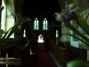 Looking from behind the Church Alter down to the Church doors.