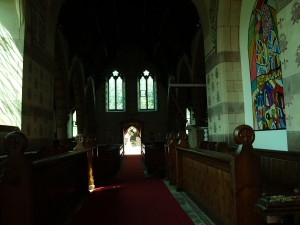 Looking from in front of the church alter down to the church doors.